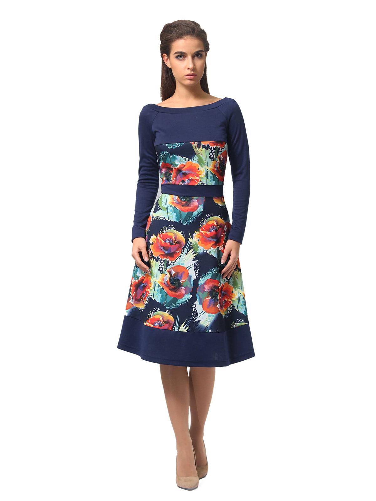 Платье синее с цветочным принтом   4794782