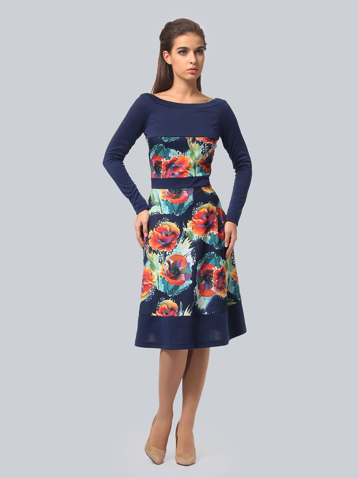 Платье синее с цветочным принтом   4794782   фото 3