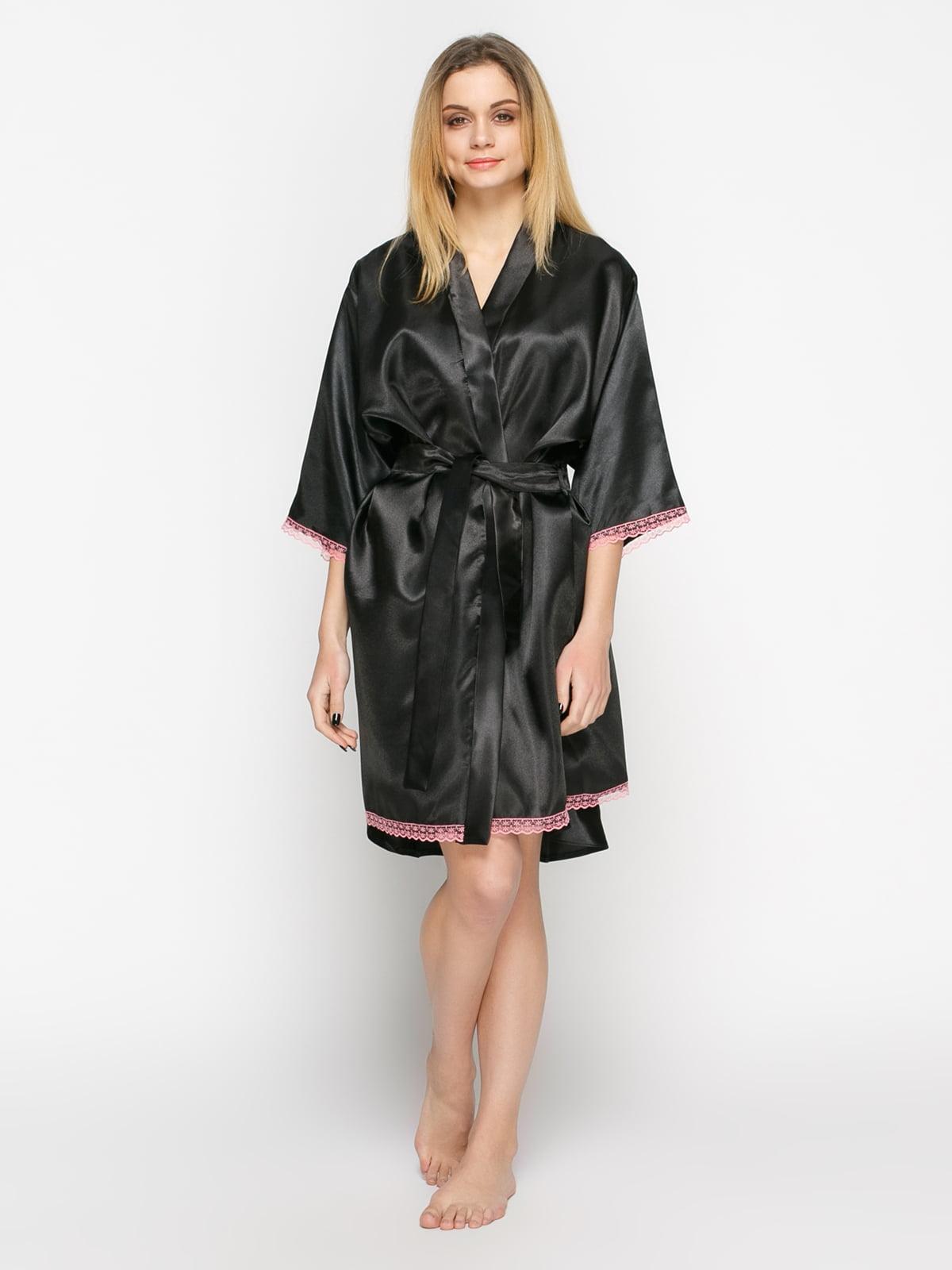 Халат черный с розовым кружевом | 4823261