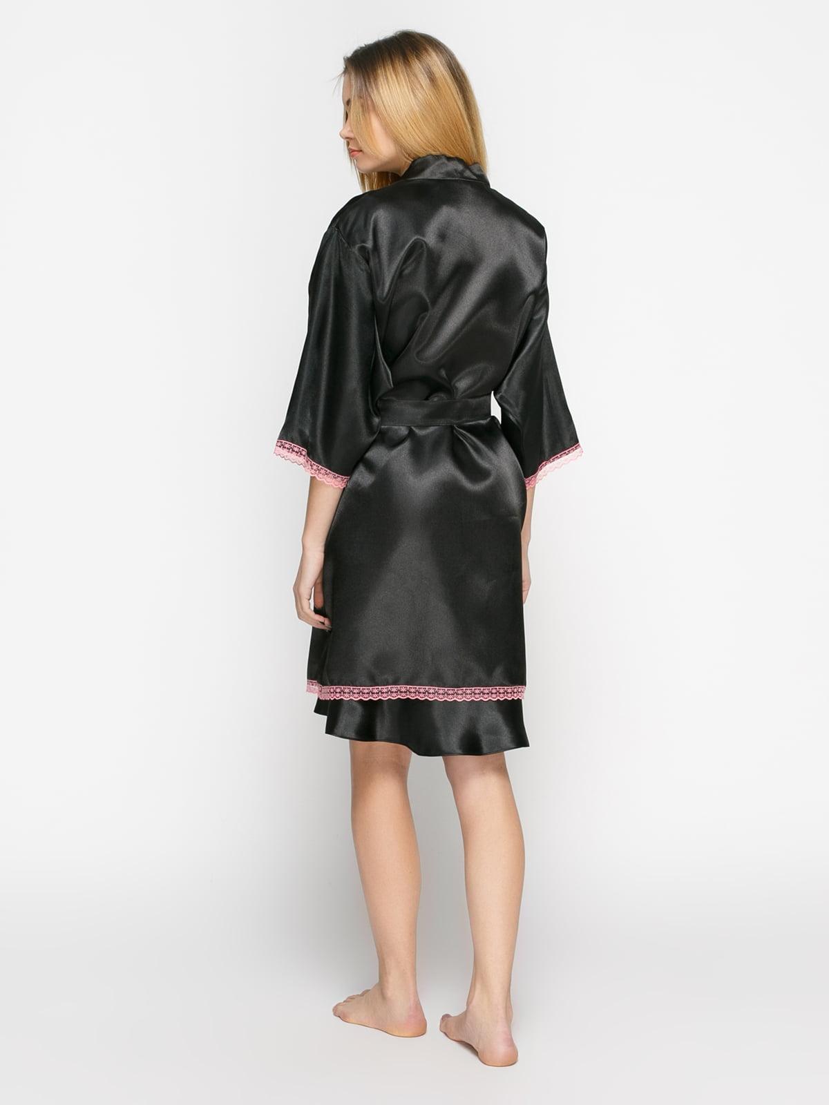 Халат черный с розовым кружевом | 4823261 | фото 2