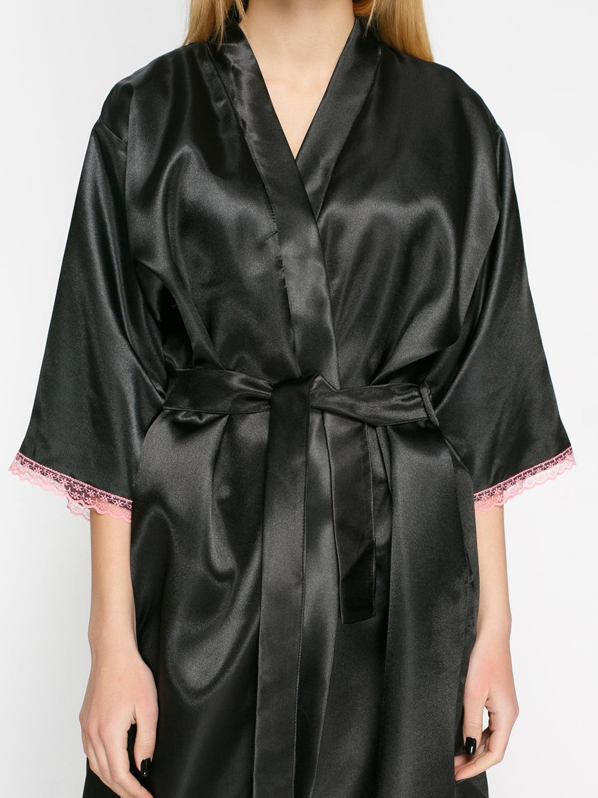 Халат черный с розовым кружевом | 4823261 | фото 3