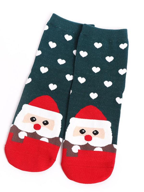 Шкарпетки темно-зелені з малюнком | 4820839