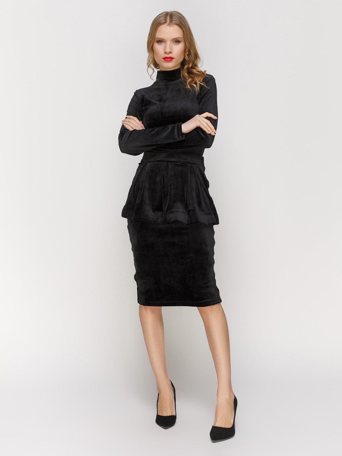 Платье черное со съемной баской | 2959599