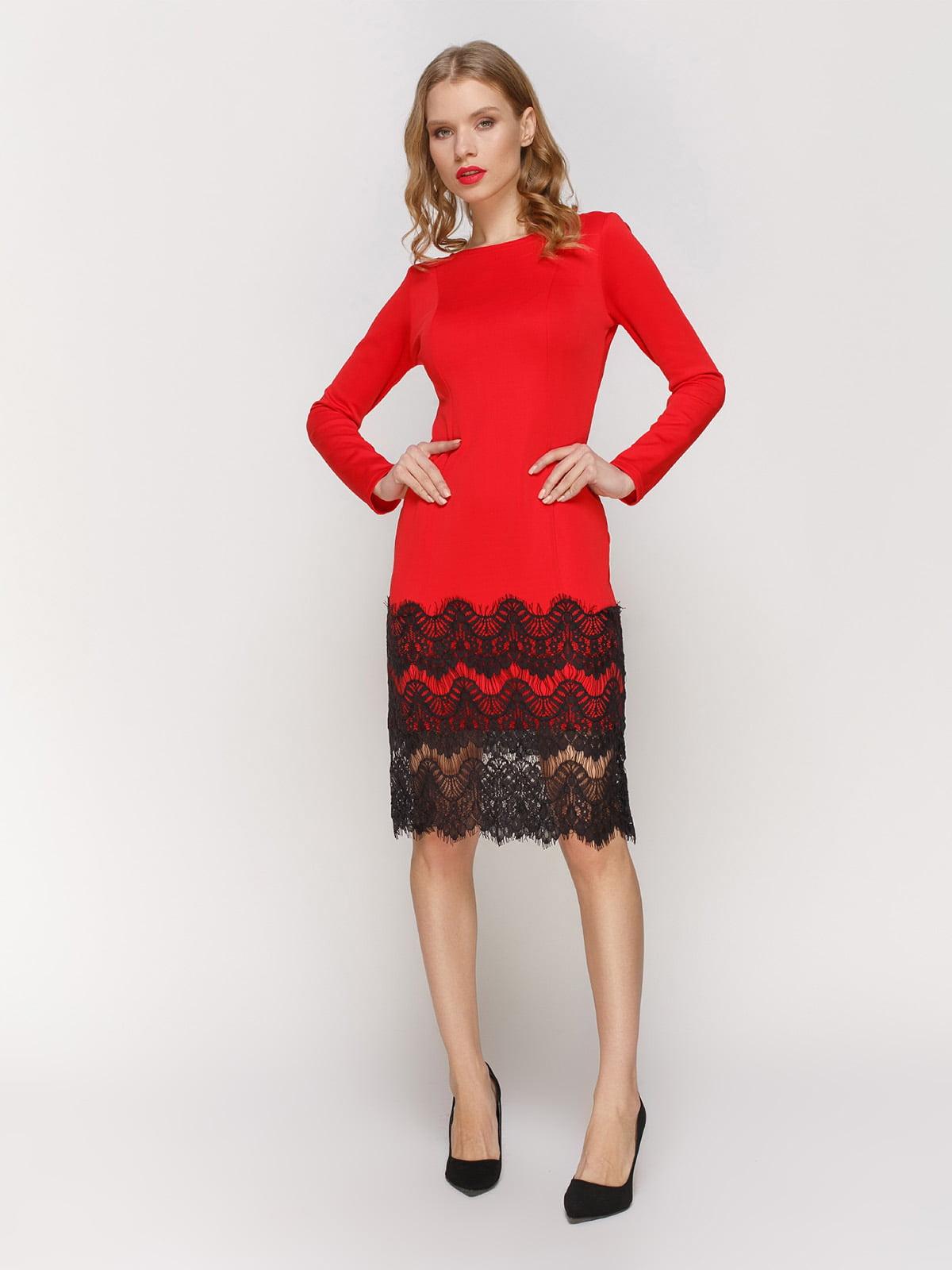 Сукня червона з мереживом | 2877967