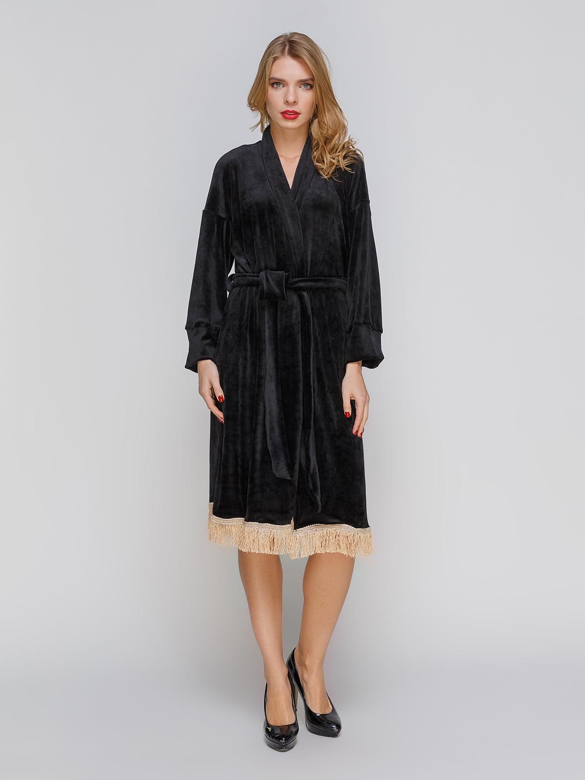 Сукня чорна з оксамиту з бахромою | 3045932