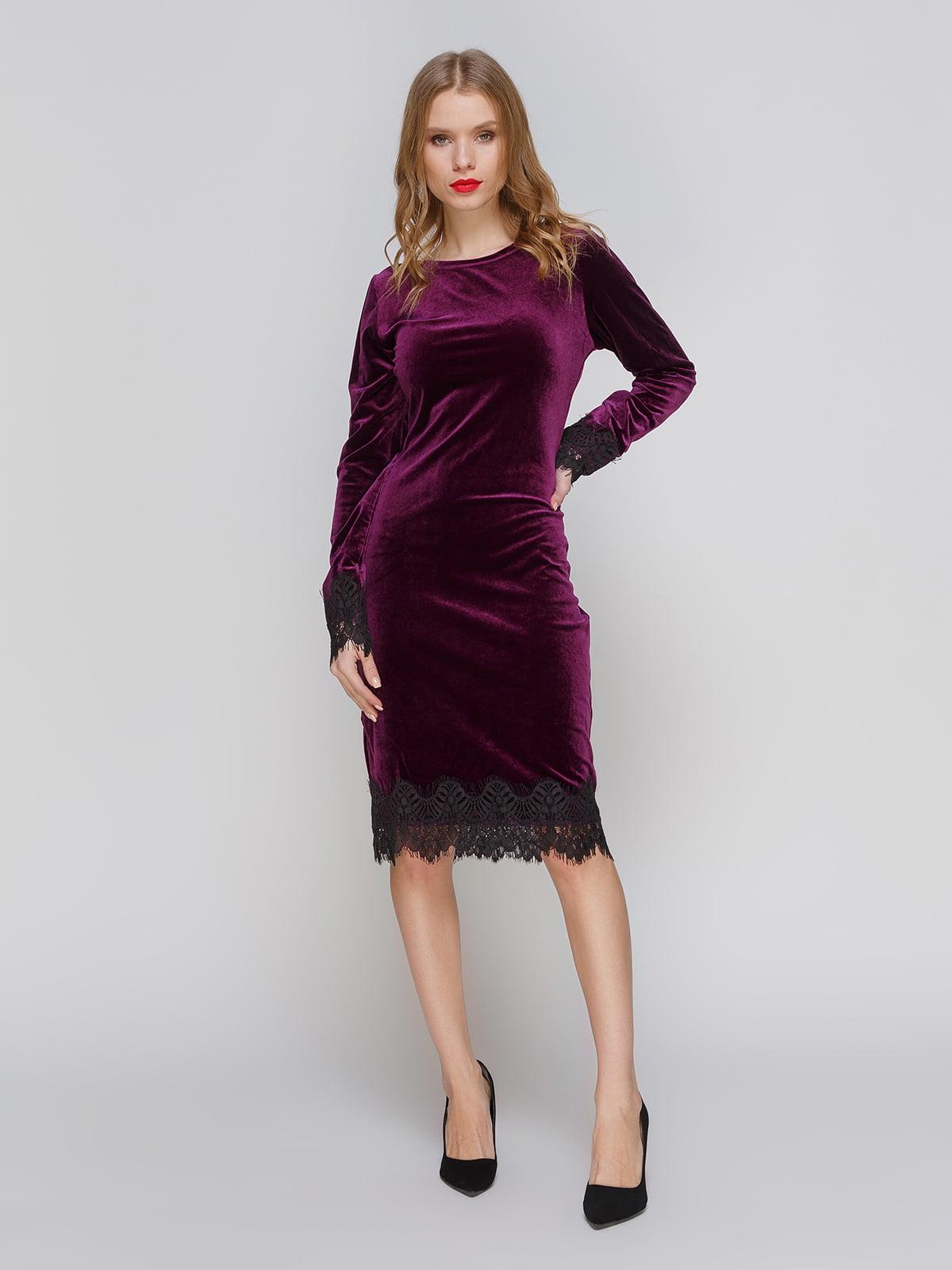 Сукня кольору баклажан оксамитова | 3045901