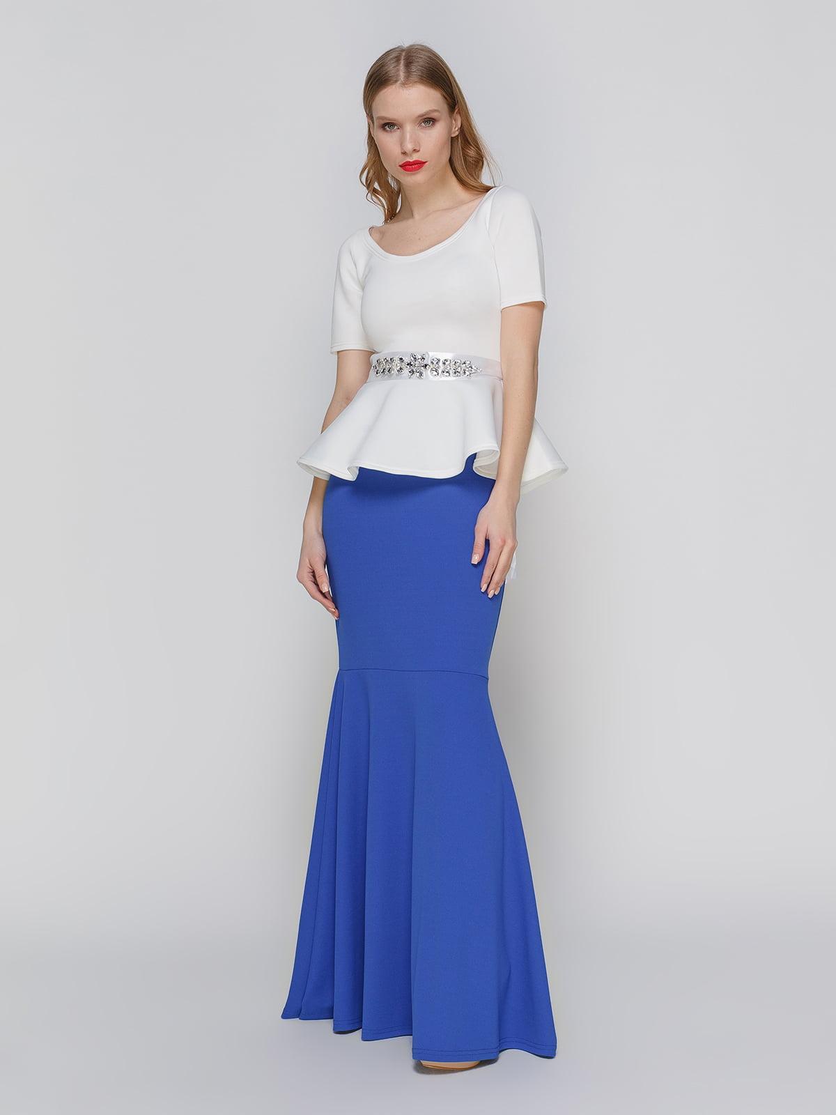 Сукня синьо-біла з баскою | 2003628