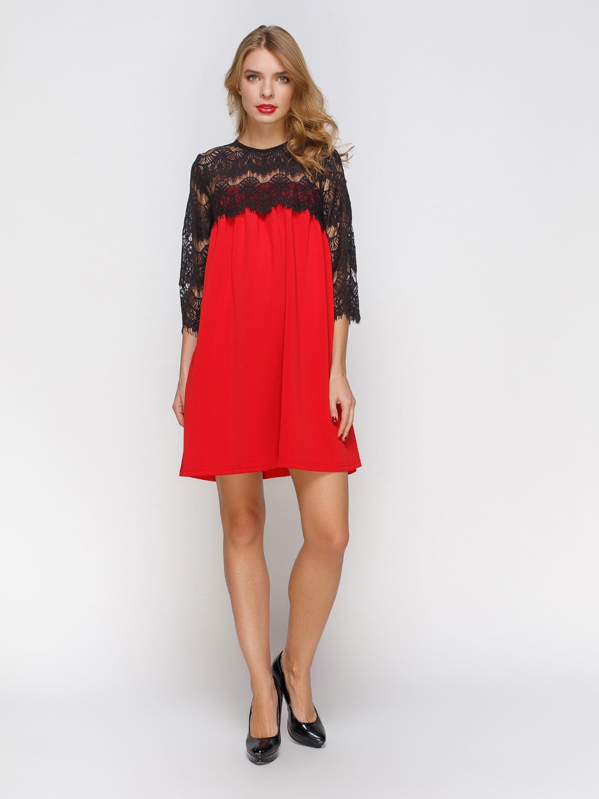 Сукня червона з мереживом | 2877960