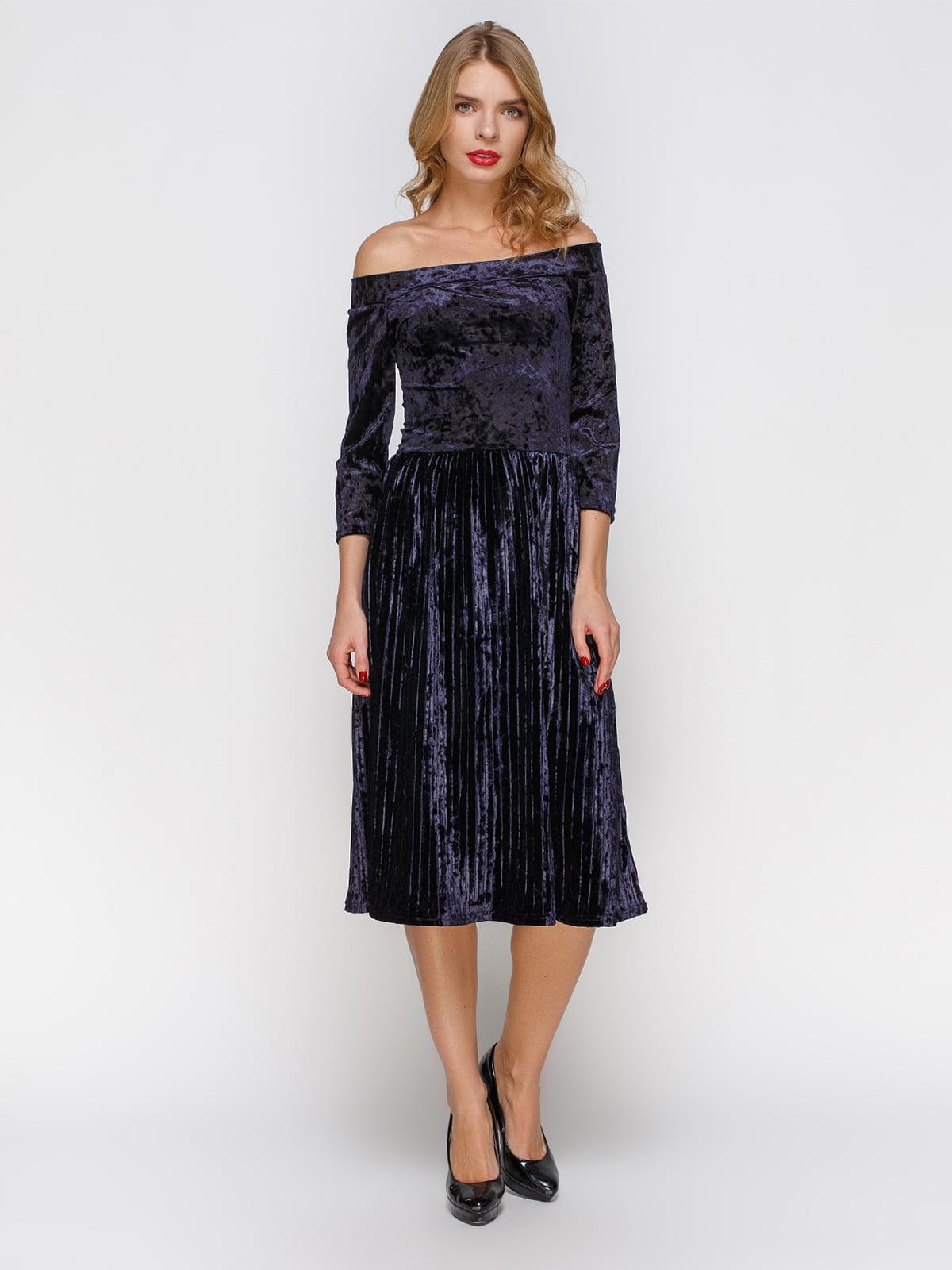 Сукня плісе з відкритими плечима | 3778202