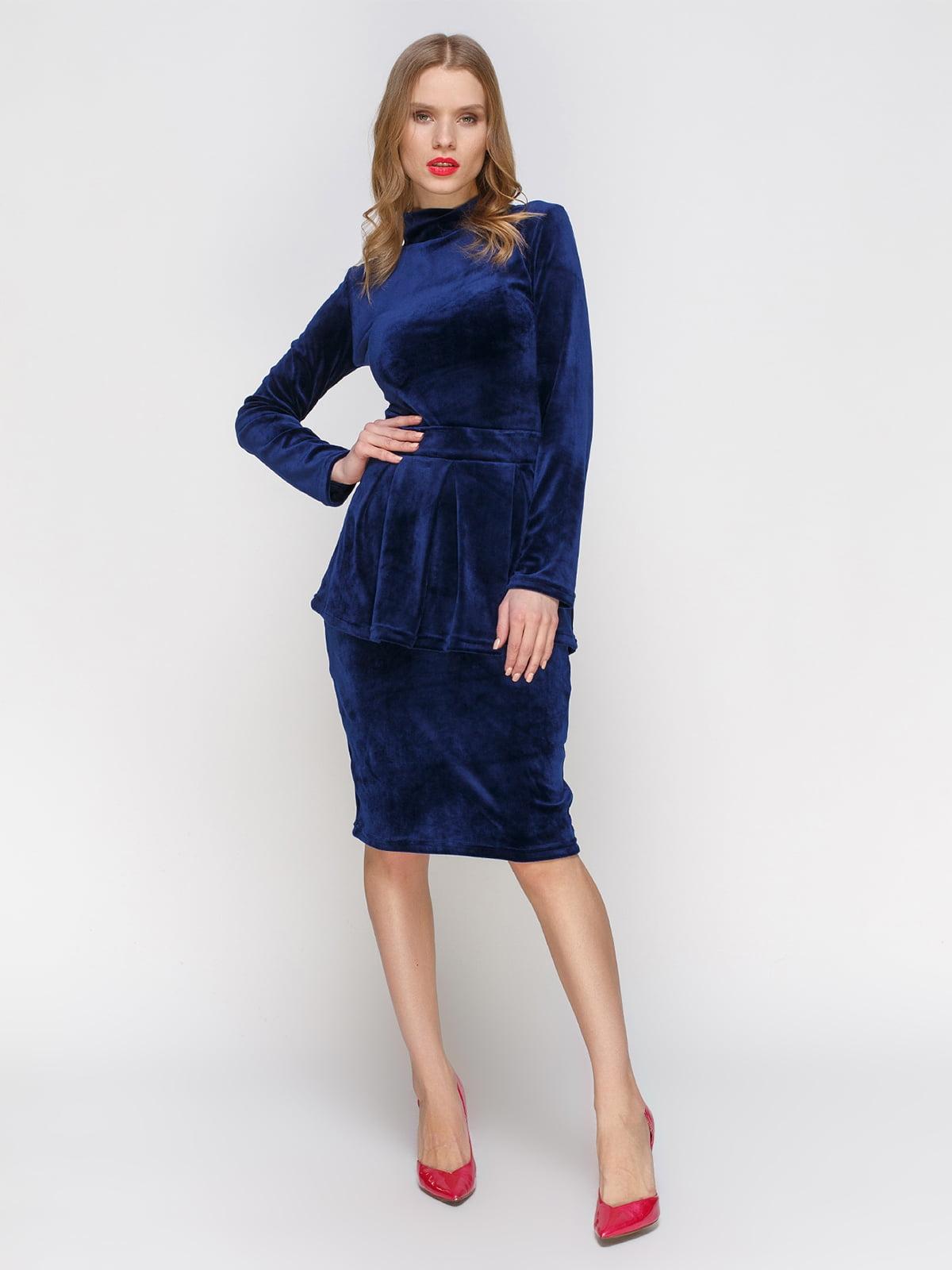 Сукня синя зі знімною баскою | 2959597