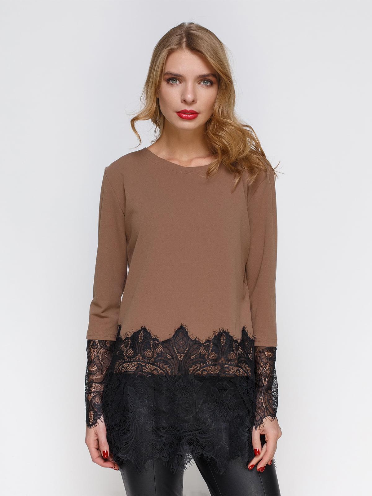 Блуза кремова з мереживом | 2994716