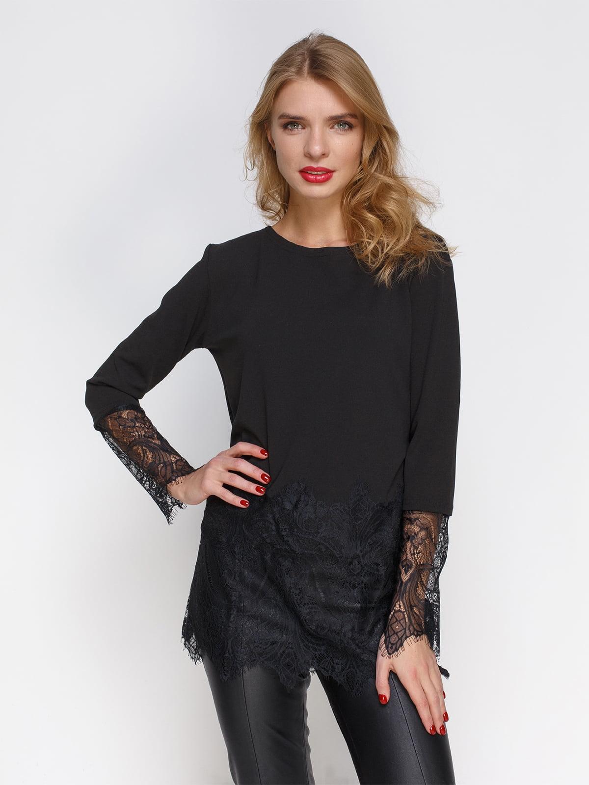 Блуза чорна з мереживом | 2994715