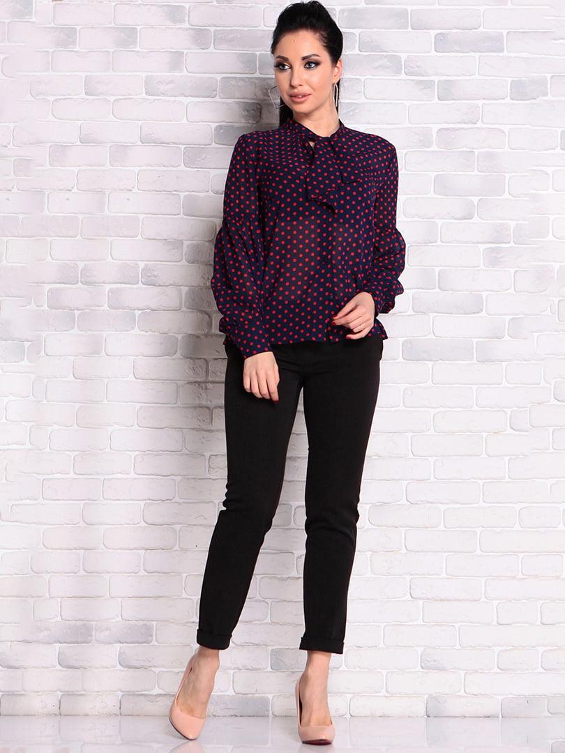 Блуза темно-синяя в горошек | 4826414