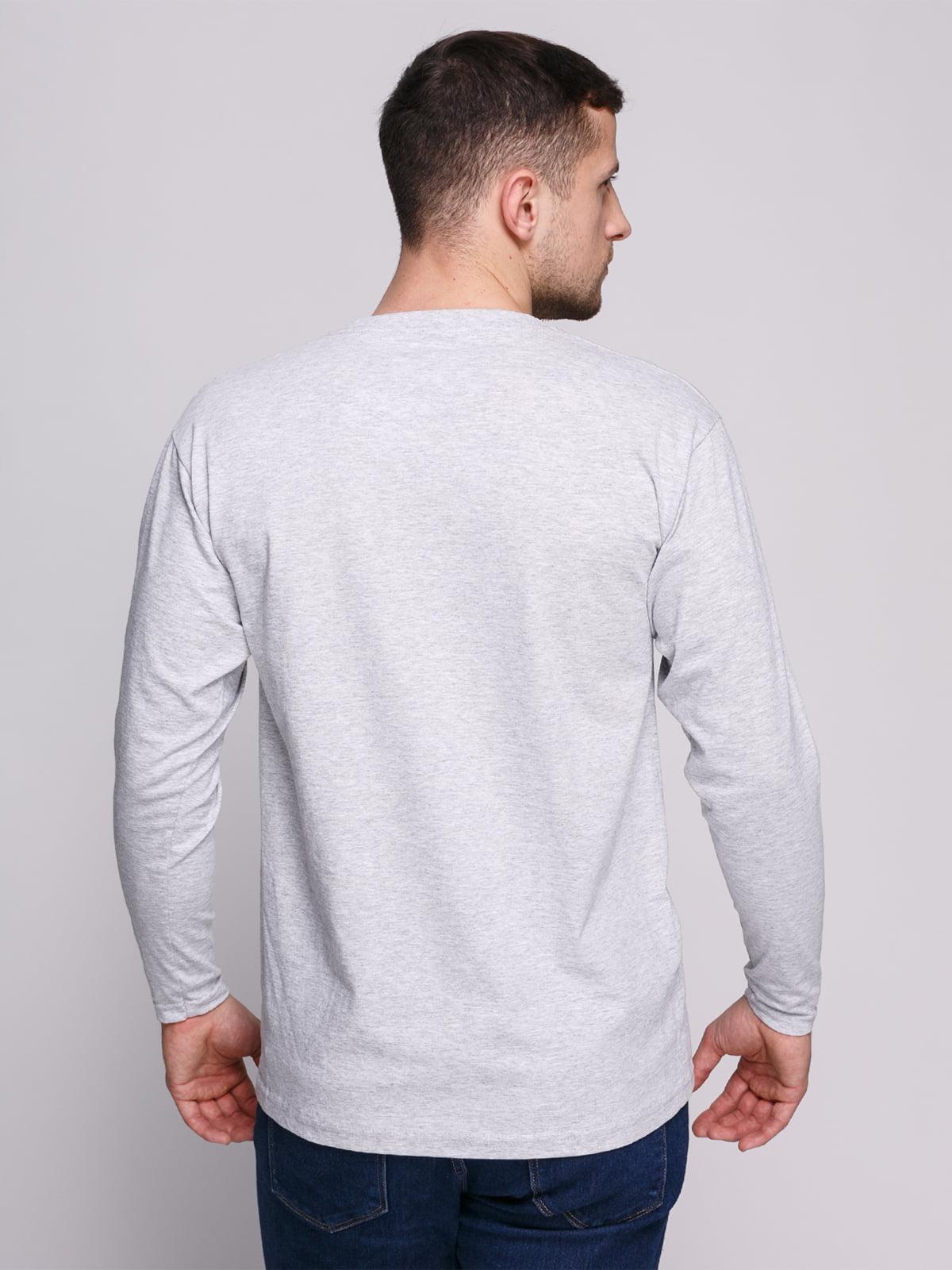 Лонгслів сірий меланжевий з принтом | 4823718 | фото 2