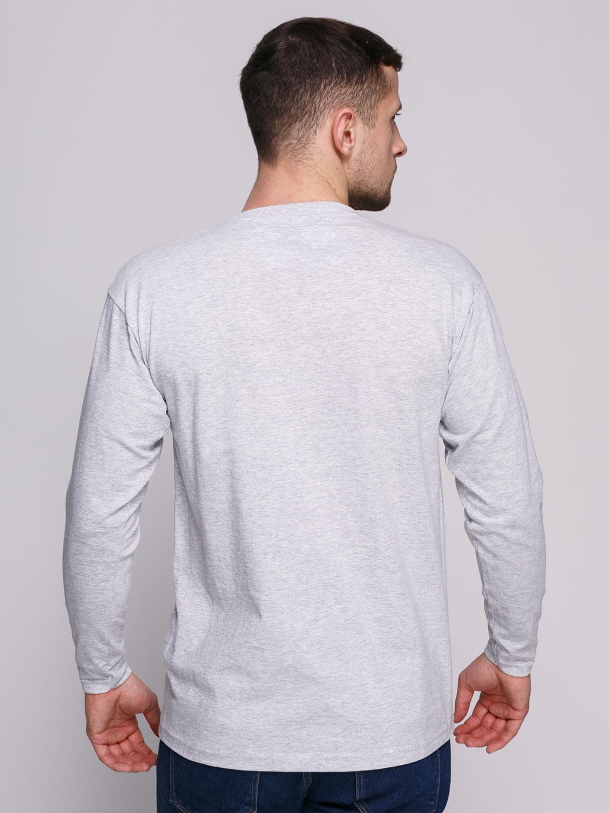 Лонгслів сірий меланжевий з принтом | 4823713 | фото 2
