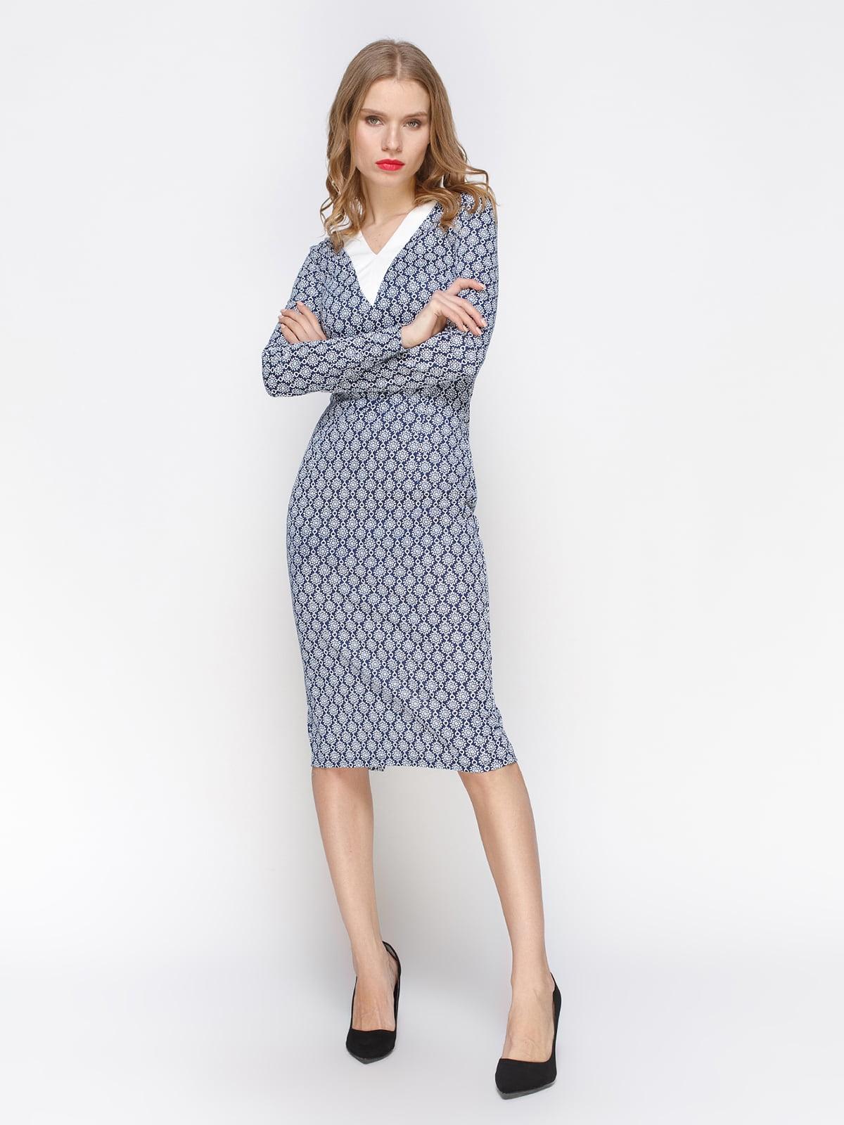 Сукня синя в принт | 2127907