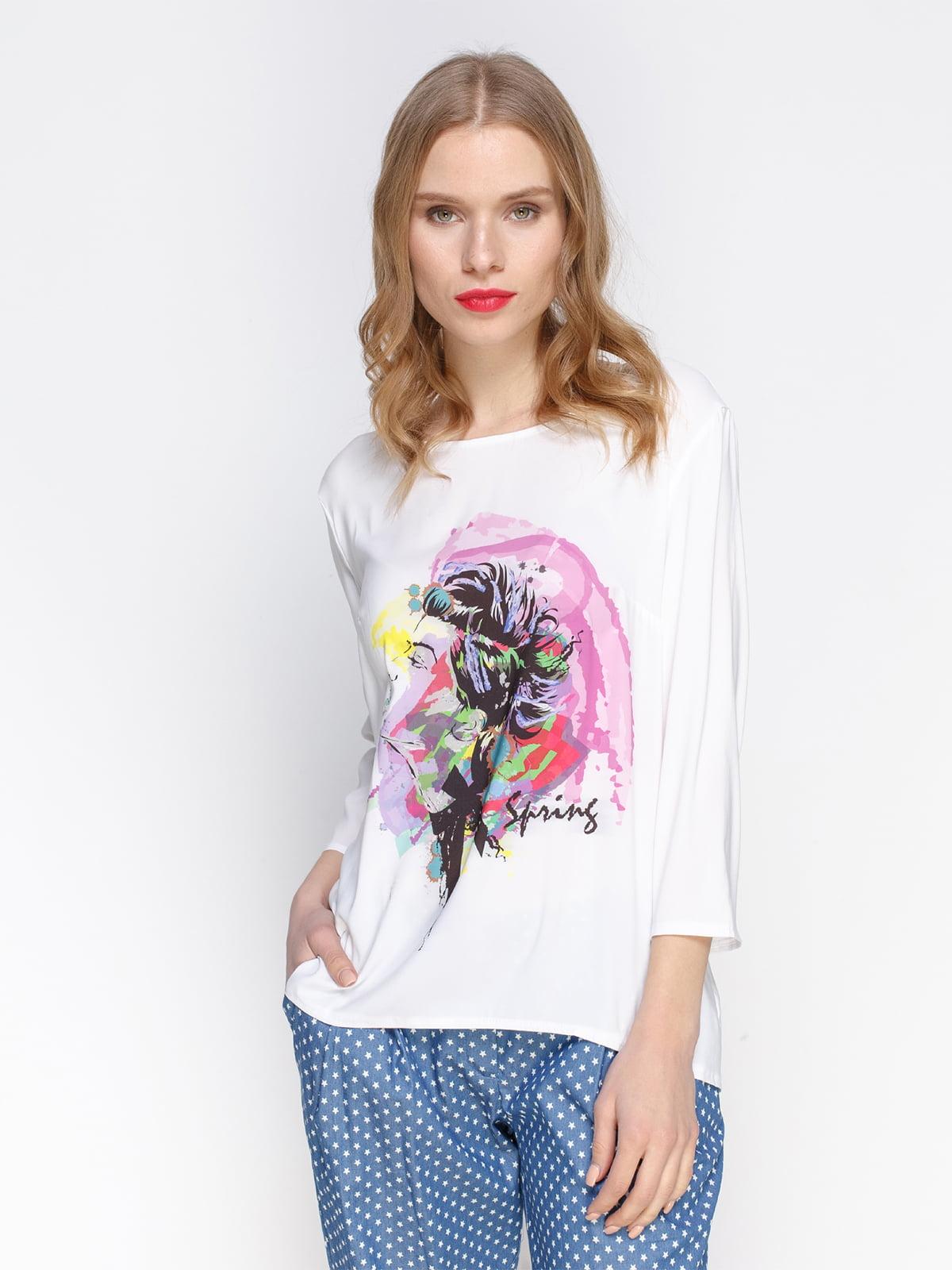 Блуза біла з принтом | 2194247