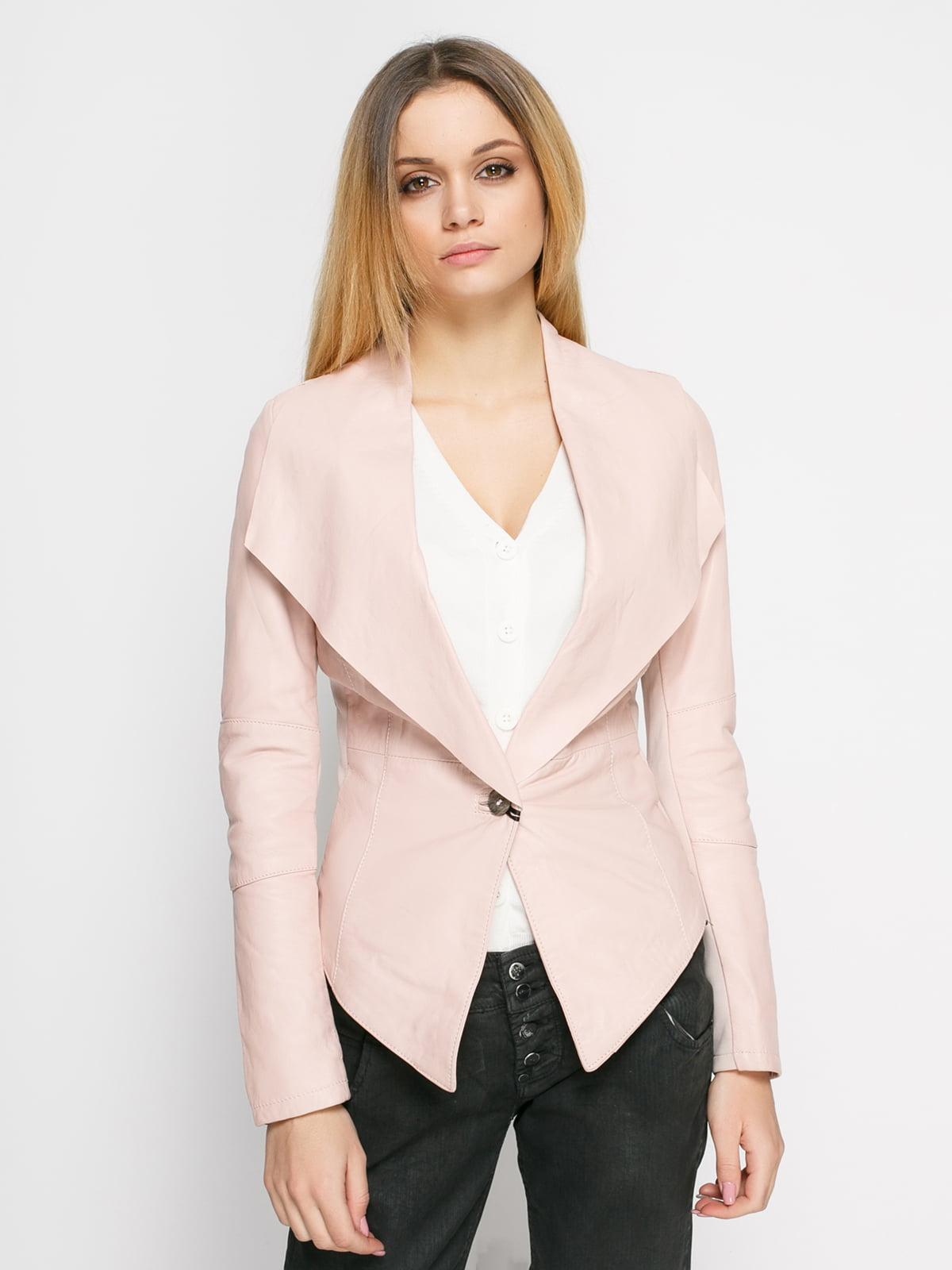 Куртка цвета пудры комбинированная | 1576329