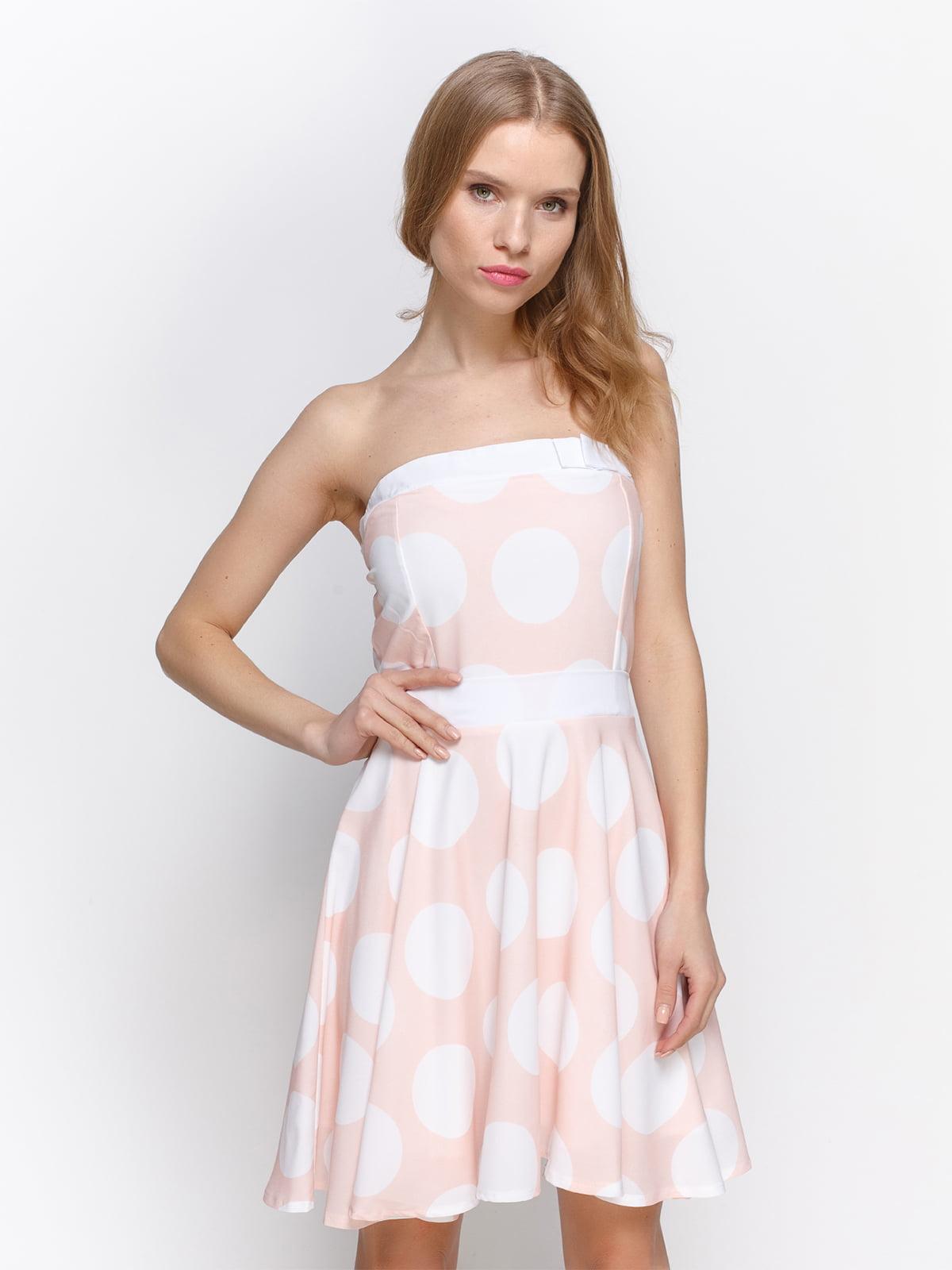 Сукня персикова в білий горох | 2298191