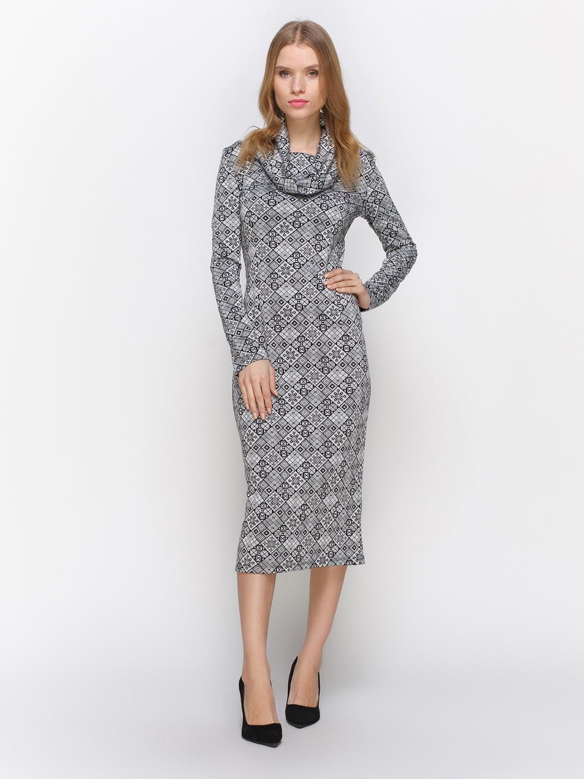 Сукня сіро-чорна з принтом   2705233
