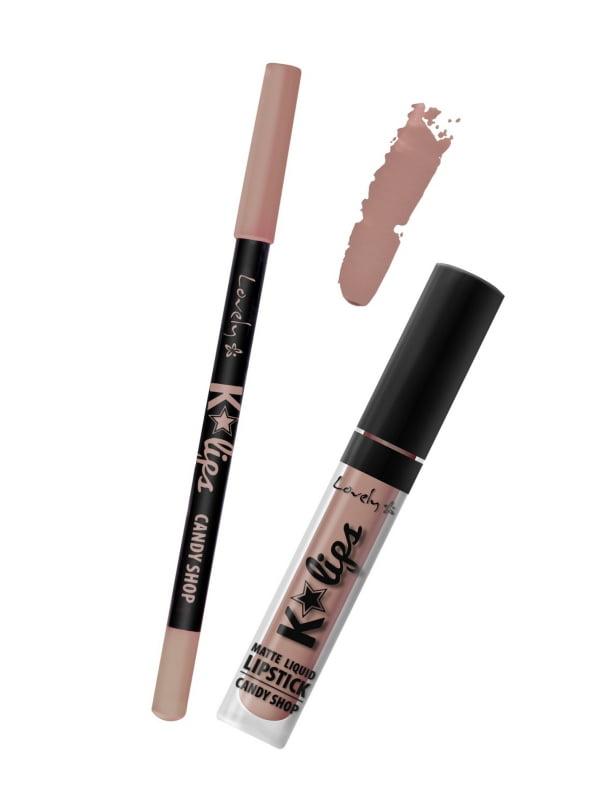Набір для макіяжу губ K*Lips №6: рідка помада і олівець   4841359