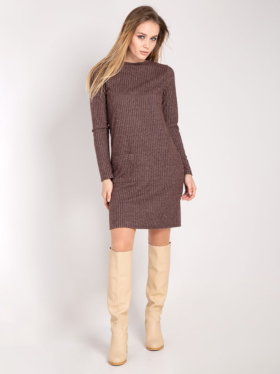 Платье коричневое | 4842292 | фото 2