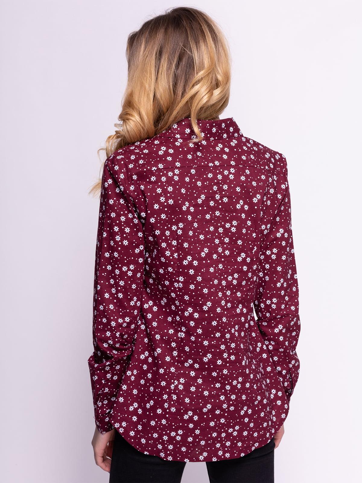 Рубашка бордовая в цветочный принт | 4855844 | фото 2