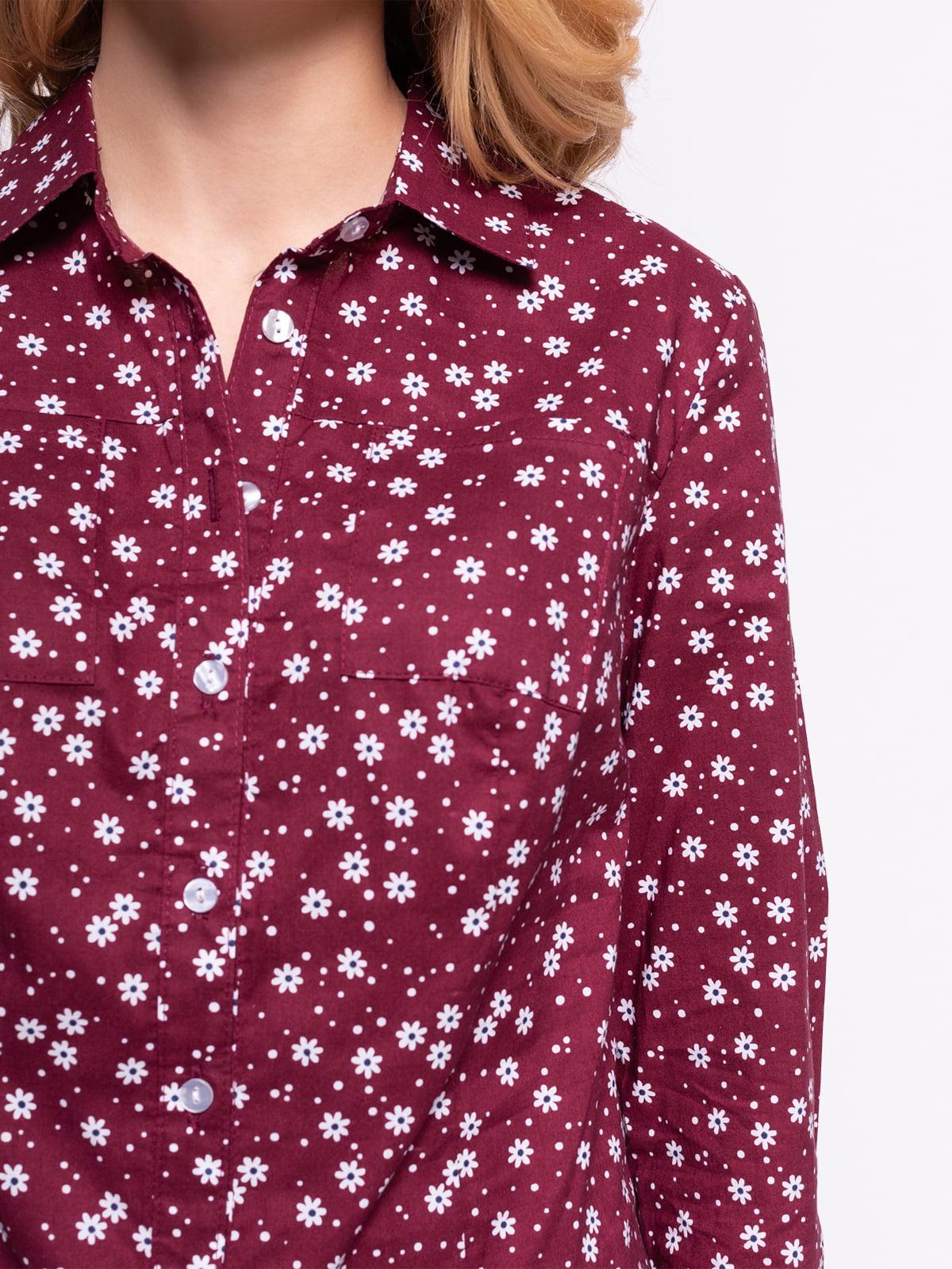 Рубашка бордовая в цветочный принт | 4855844 | фото 3