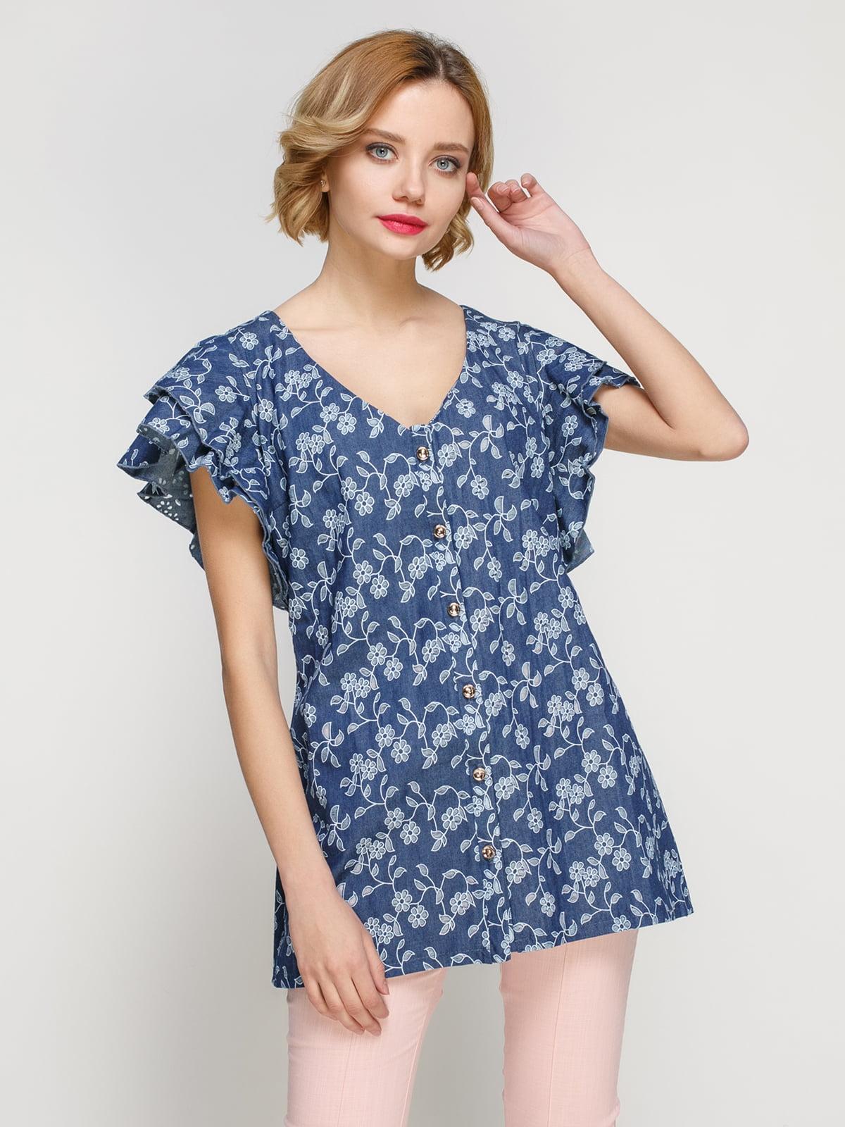 Блуза з легкого джинса з квітковою перфорацією | 3315356