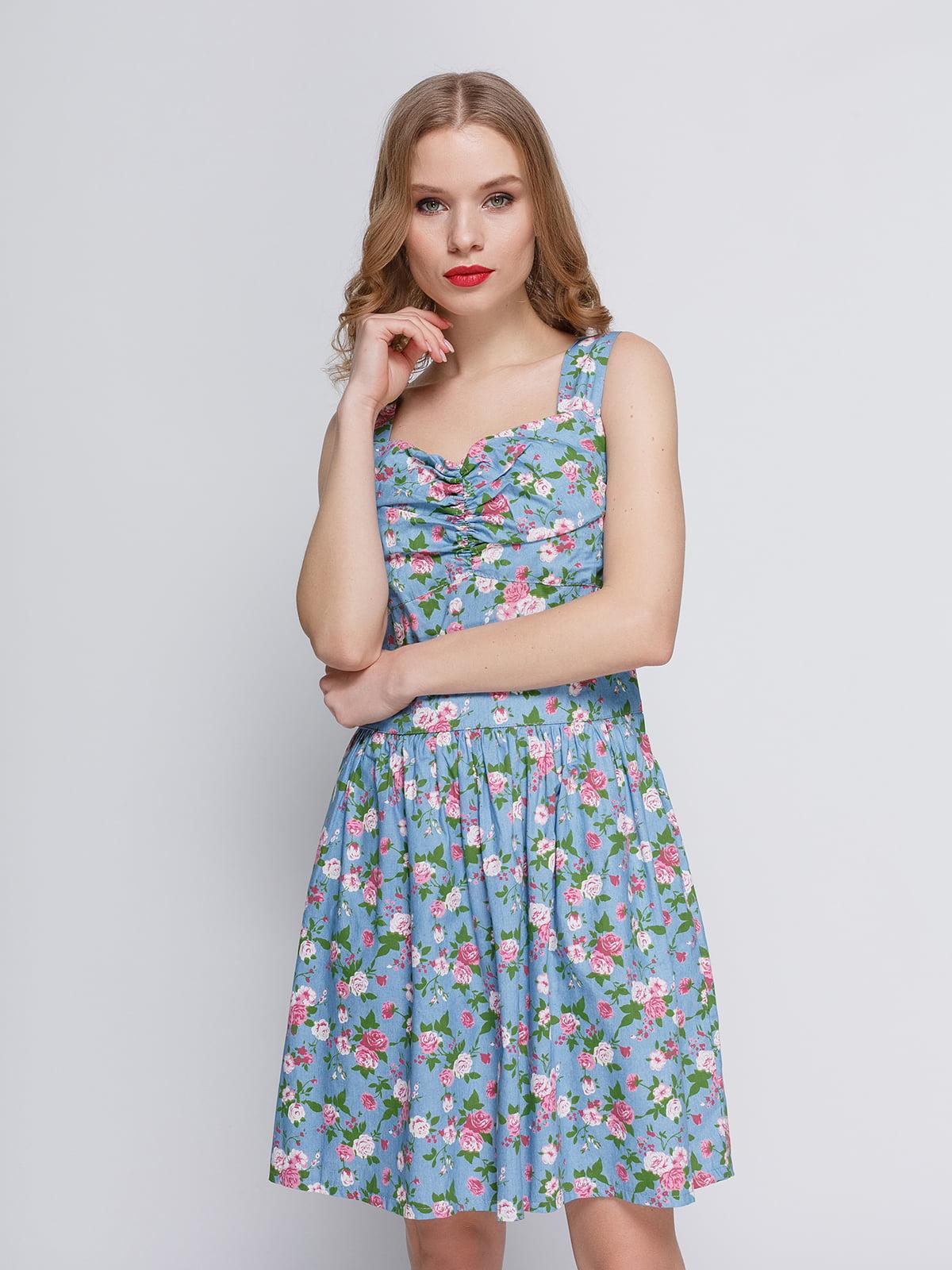 Сукня світло-блакитна в квітковий принт   2380697