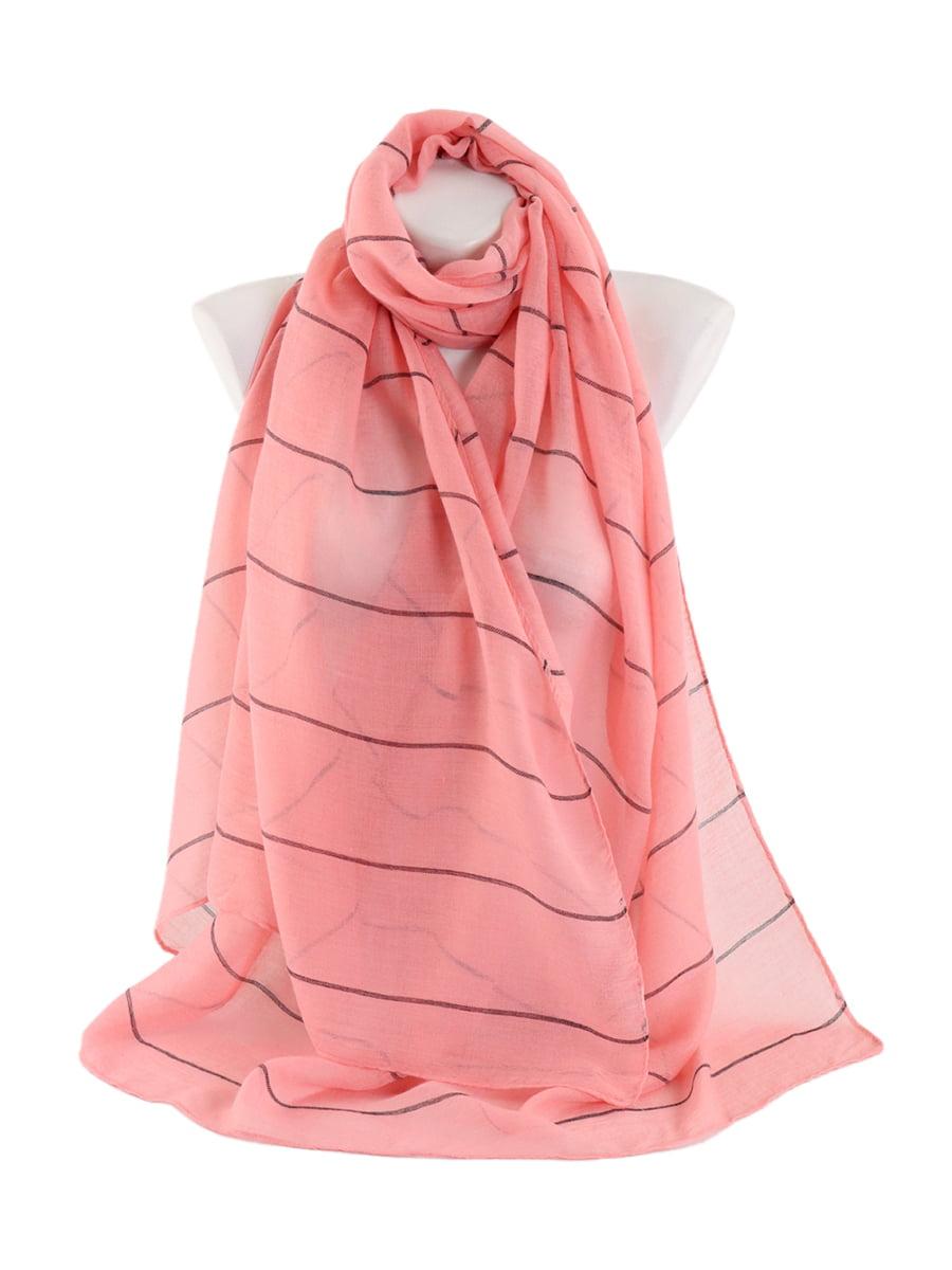 Шарф рожевий в тонку смужку   4861432