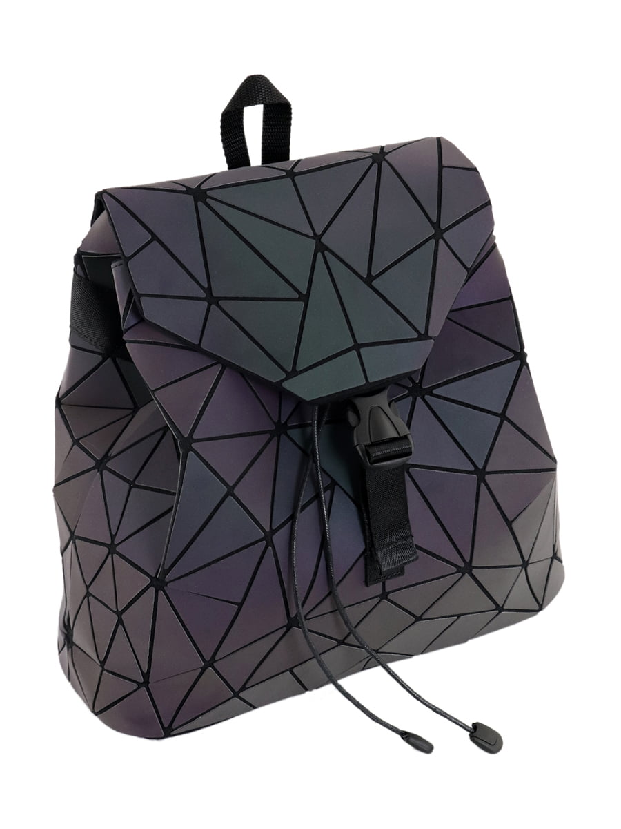 Рюкзак фіолетовий з матовим геометричним декором (хамелеон) | 4861436