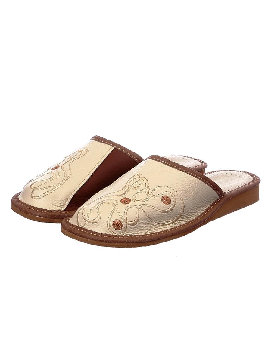 Тапочки коричневые кожаные | 4863018