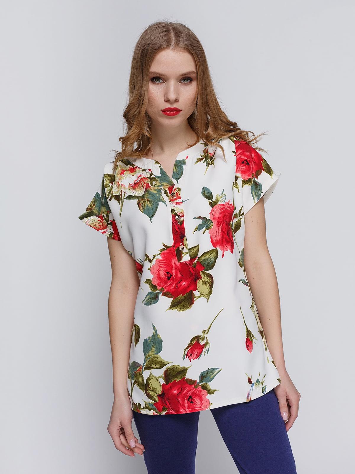 Блуза біла з квітковим принтом | 3328726