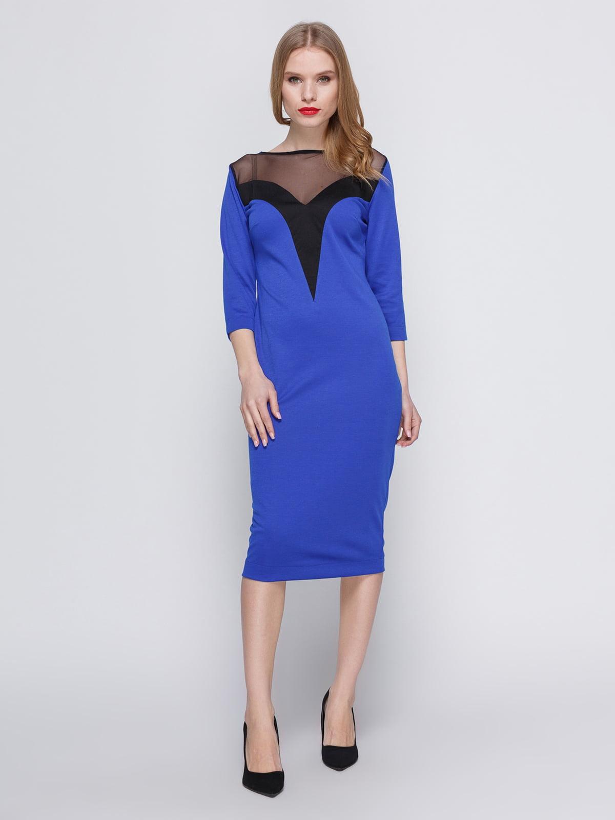 Сукня кольору електрик з кокеткою | 3486507