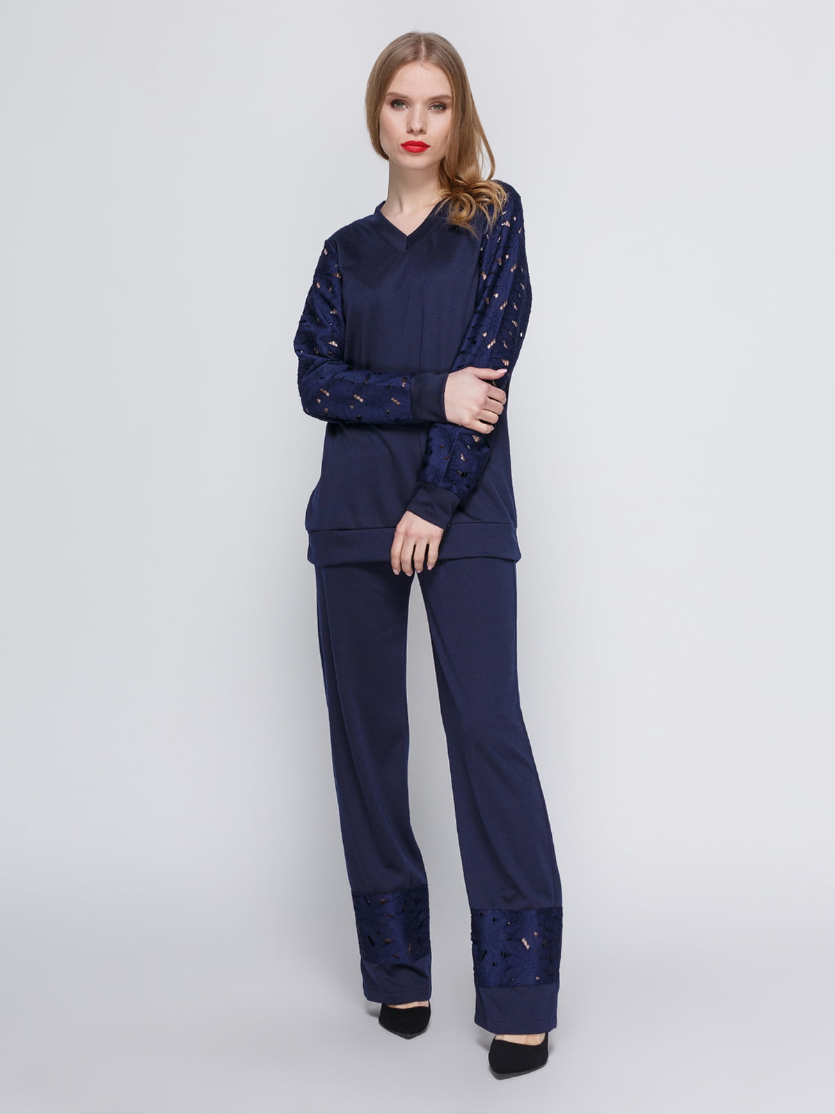 Костюм темно-синій: блуза і штани   3544648