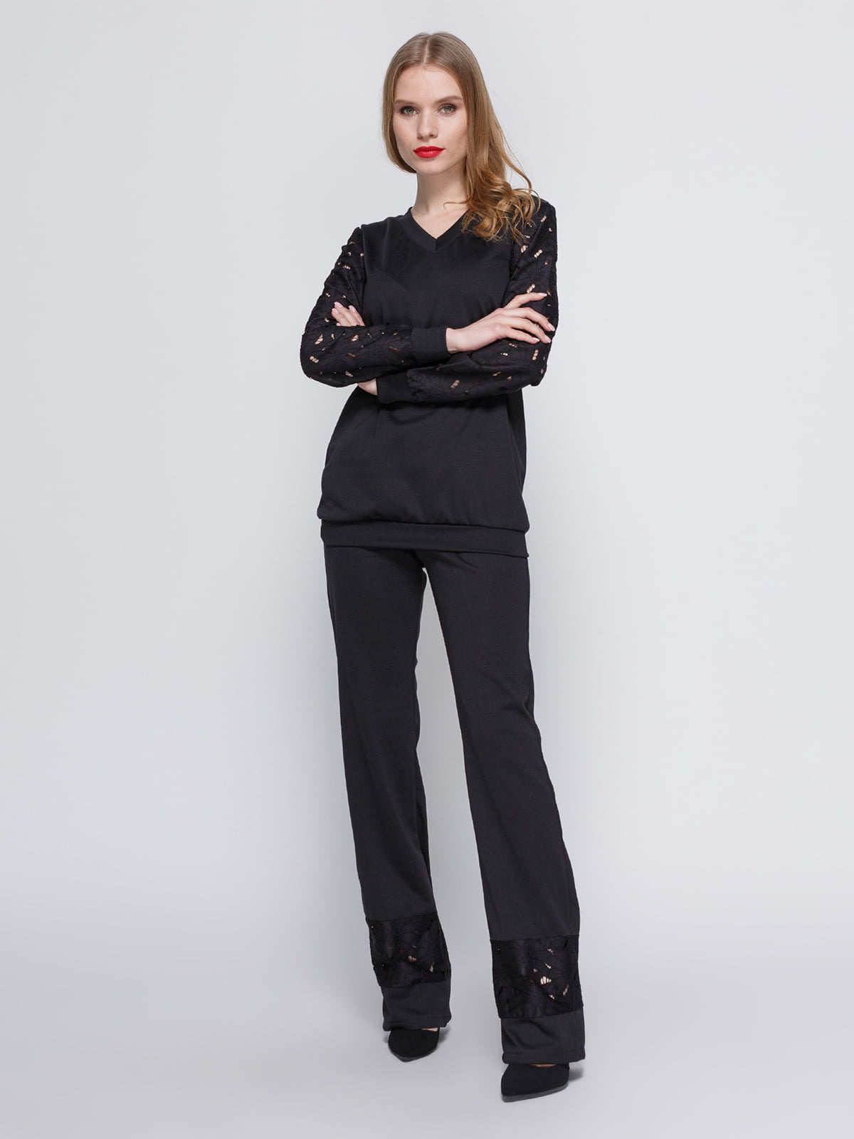Костюм чорний: блуза і штани | 3544649