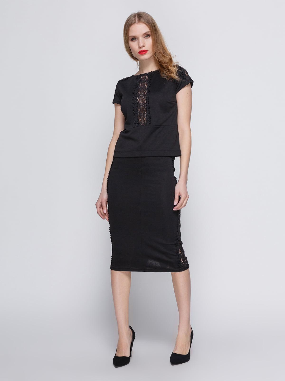 Костюм: блуза і спідниця з гіпюровою вставкою чорного кольору | 3544656