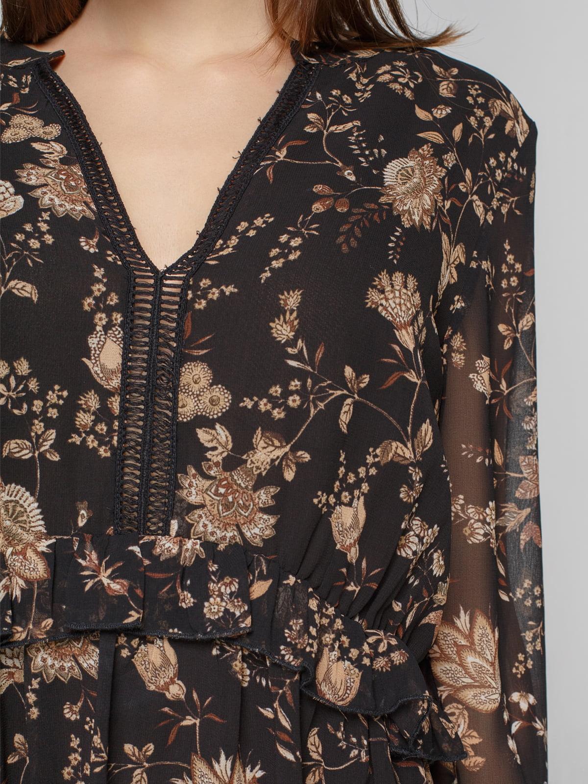 Платье черное в принт | 4789403 | фото 3