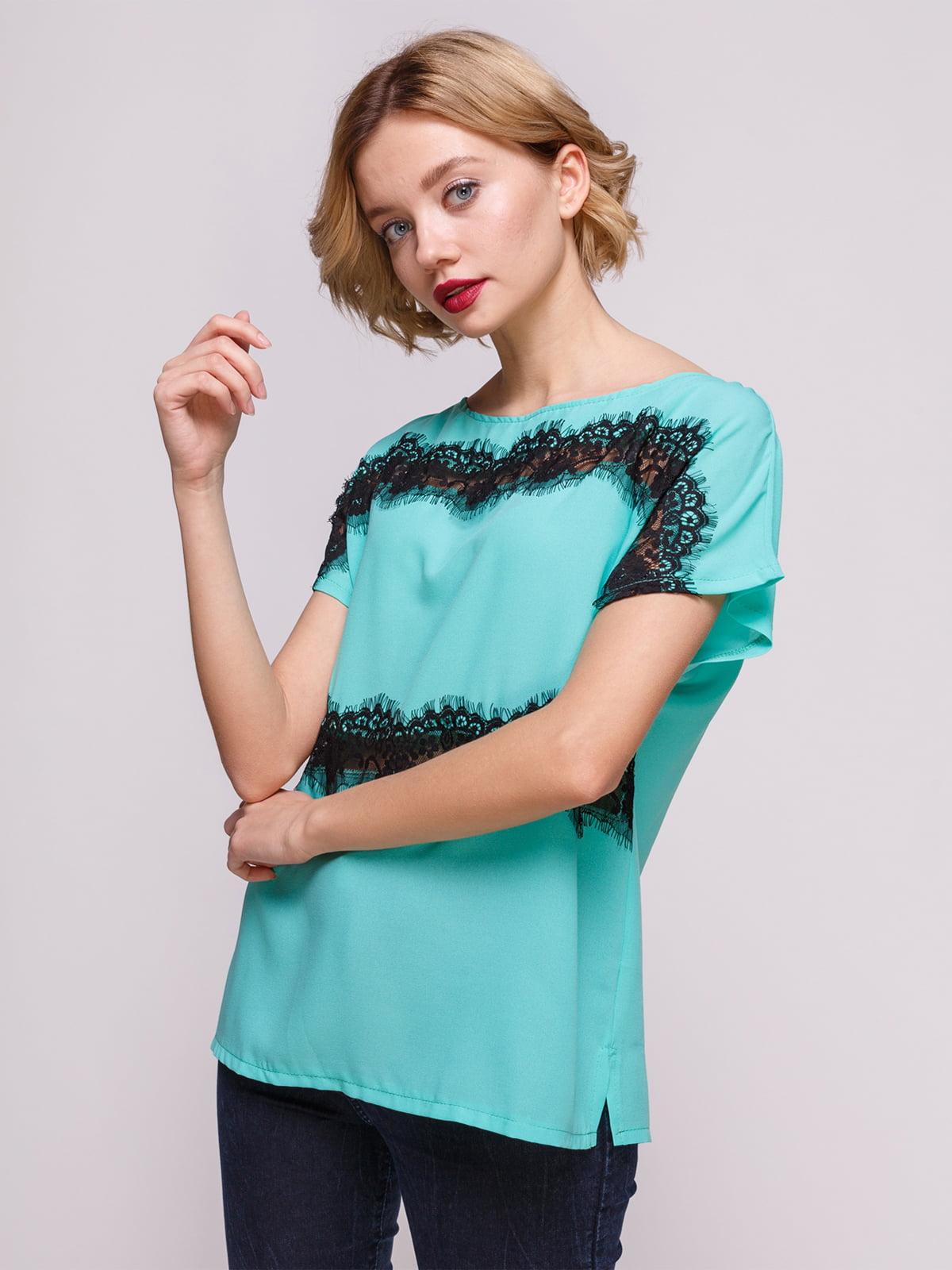 Блуза м'ятного кольору з мереживом | 3328725