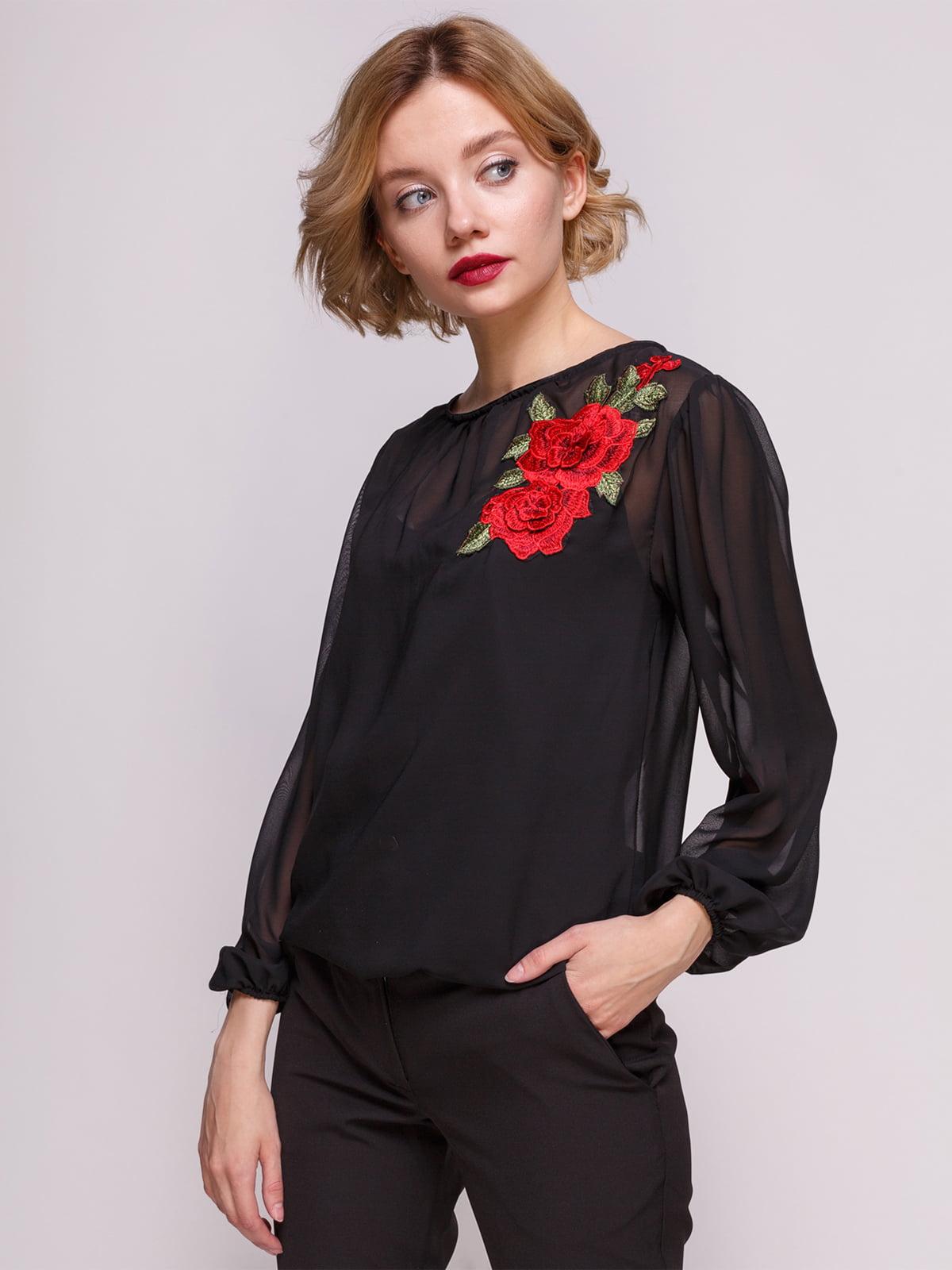 Блуза чорна з аплікацією | 3486503