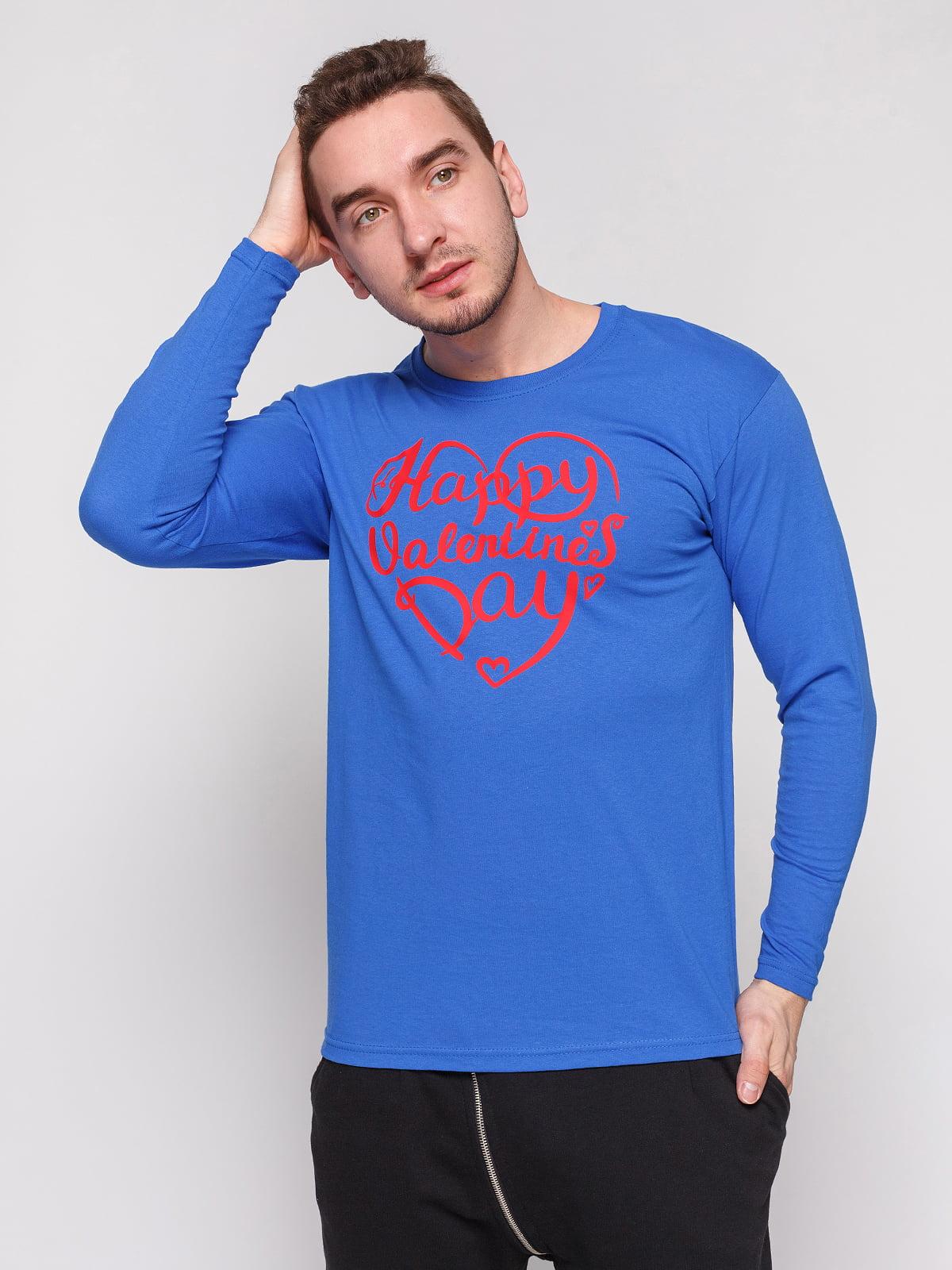 Лонгслив синий с принтом | 4861840