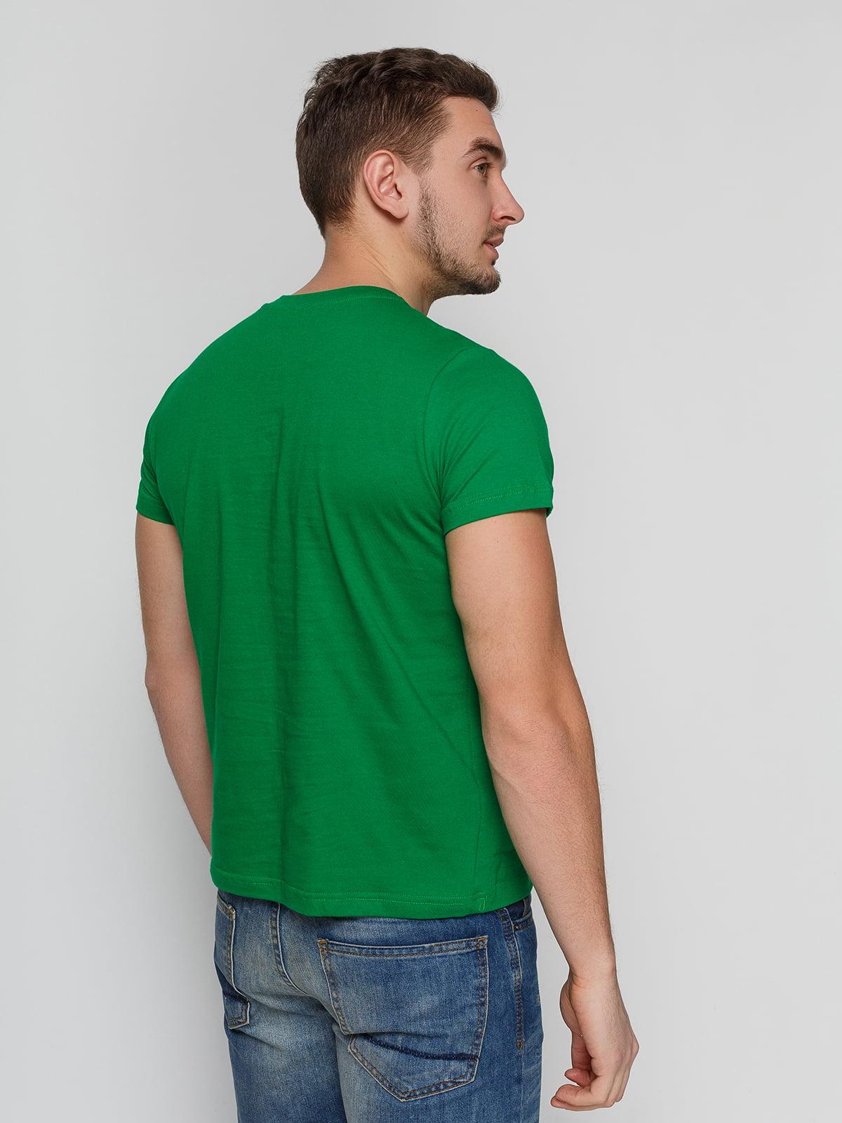 Футболка зеленая с принтом | 4863561 | фото 2