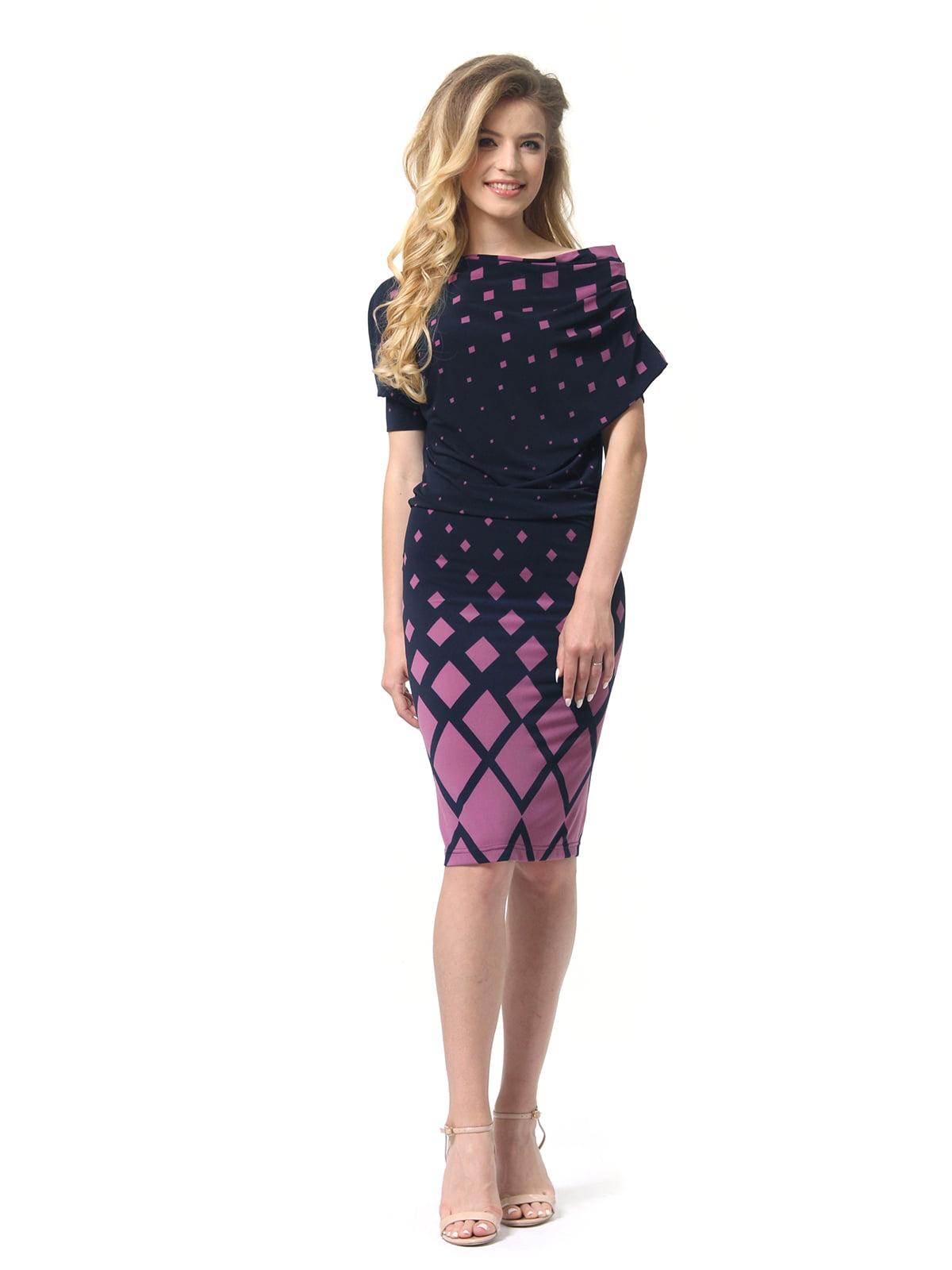 Сукня темно-синя в ромби фрезового кольору | 4837097