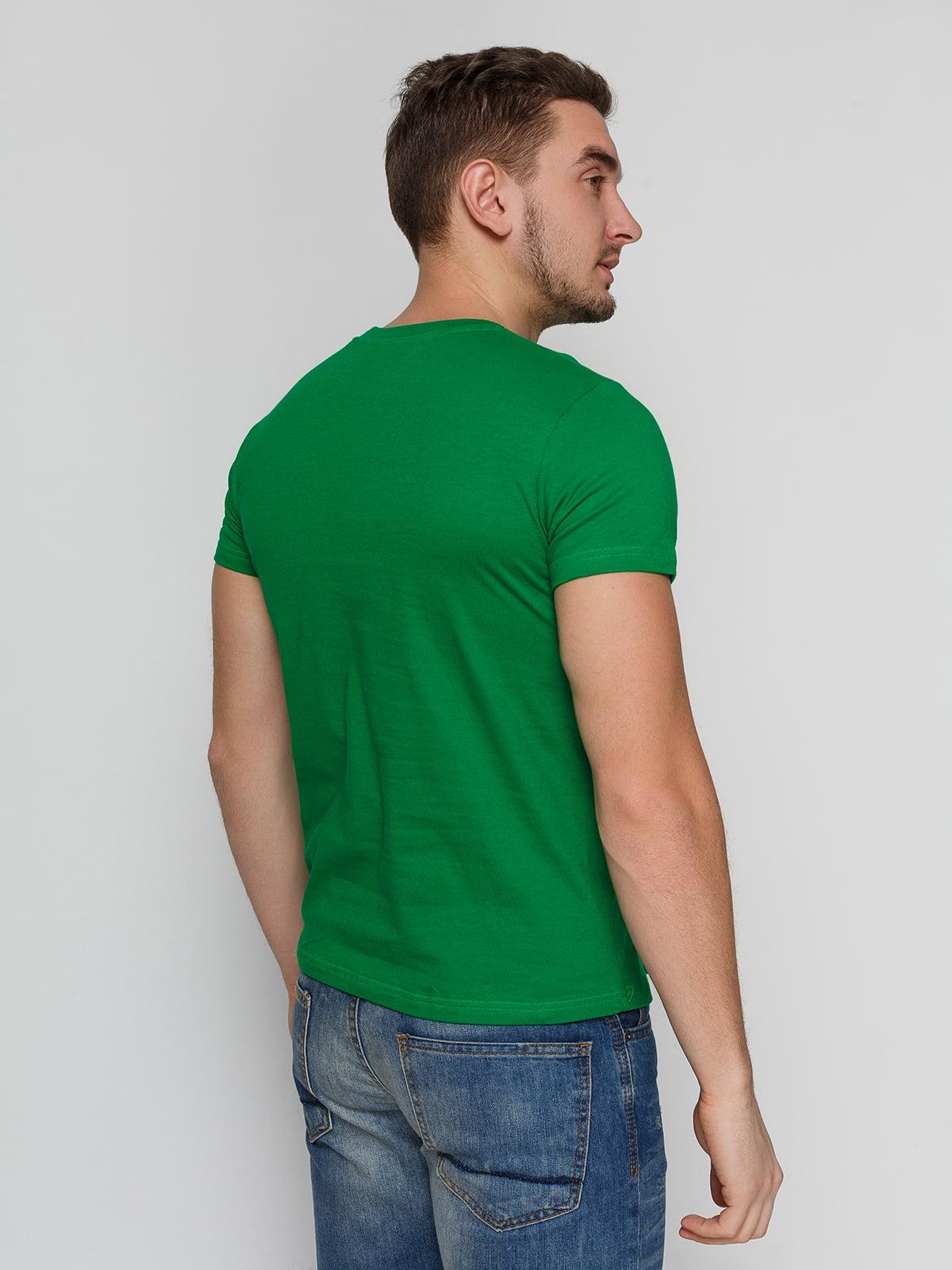Футболка зеленая с принтом | 4863556 | фото 2