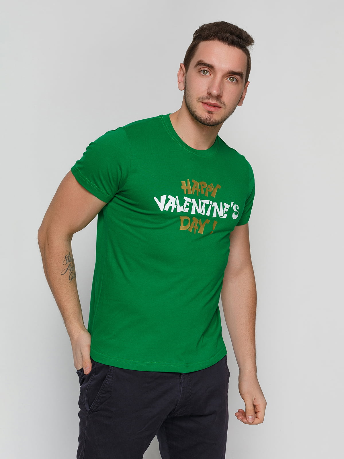 Футболка зеленая с принтом | 4863601