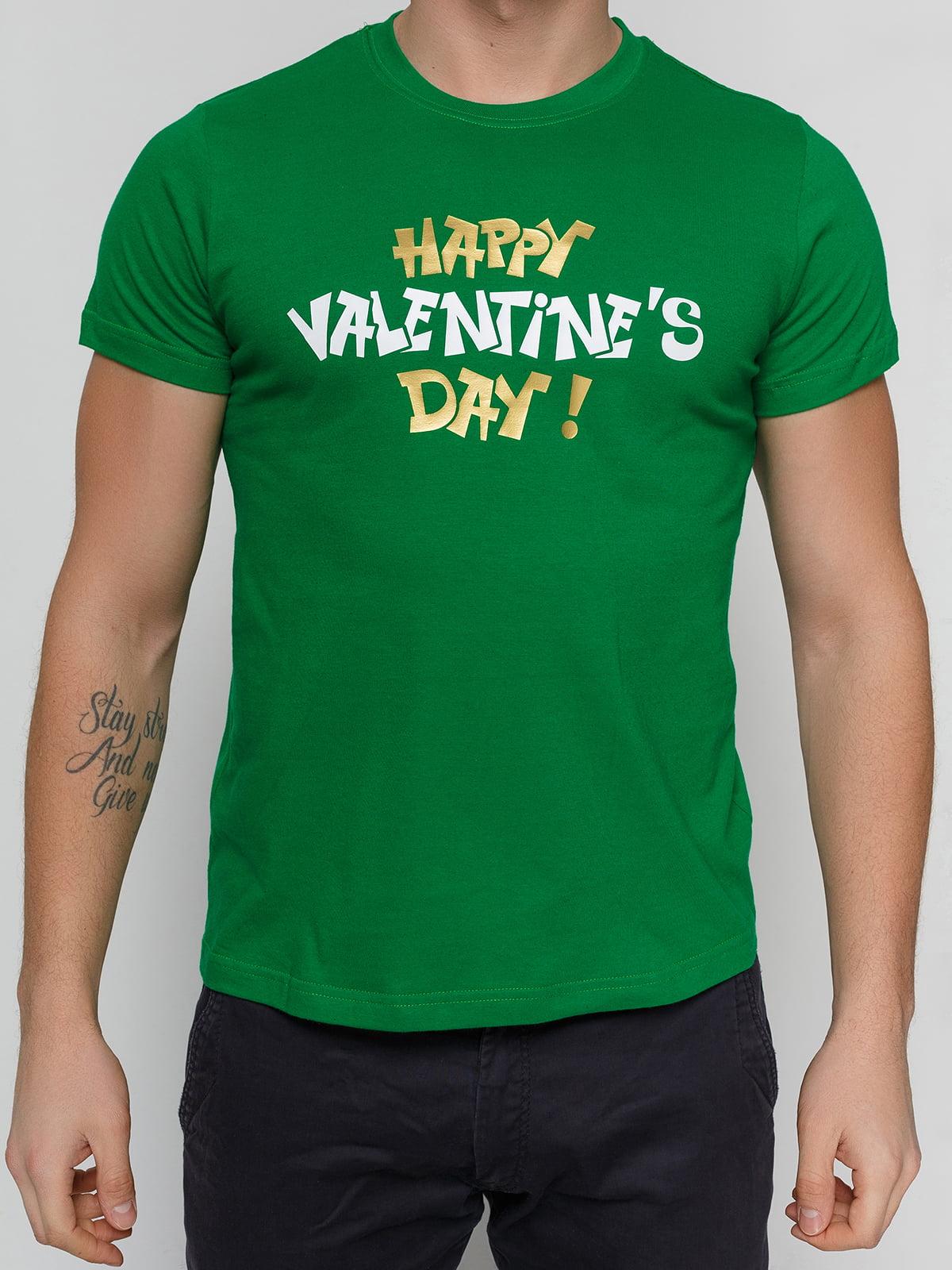 Футболка зеленая с принтом | 4863601 | фото 3