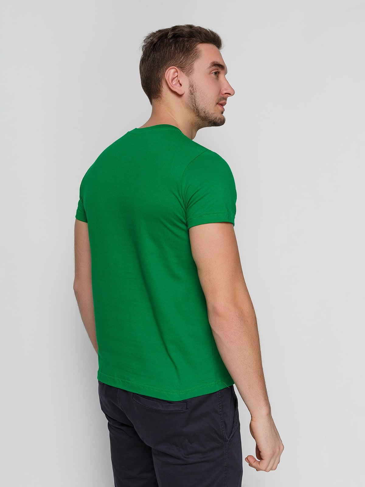 Футболка зеленая с принтом | 4863544 | фото 2