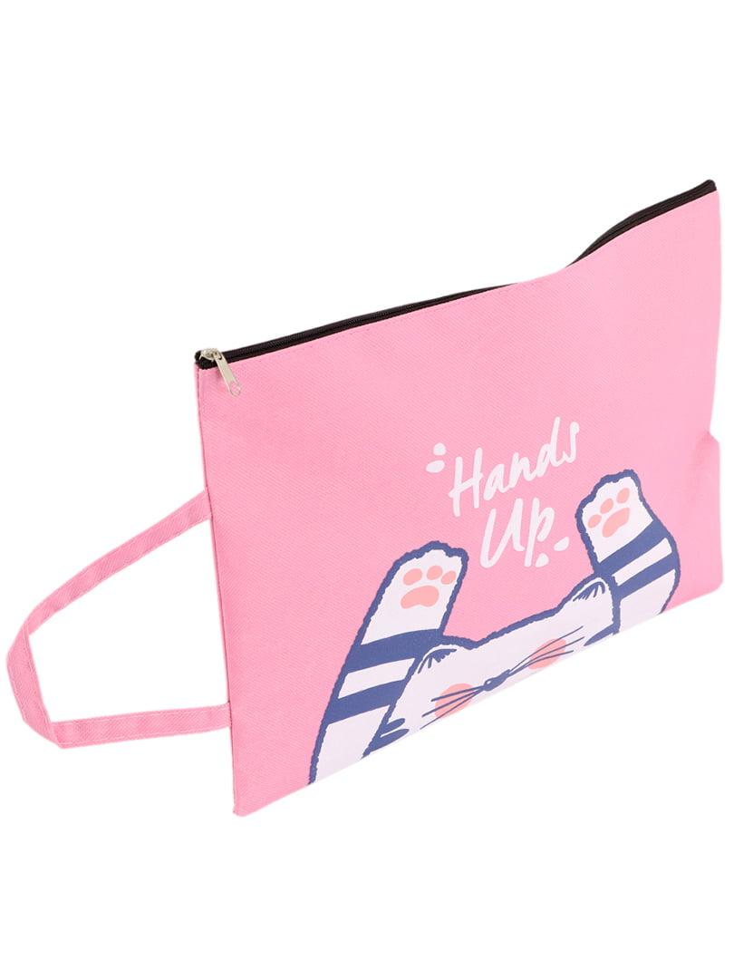 Сумка-папка розовая с принтом | 4866537