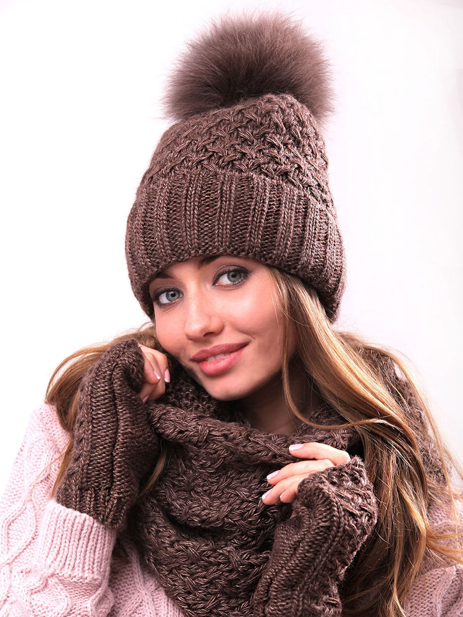 Комплект: шапка, шарф-хомут и митенки | 4866856